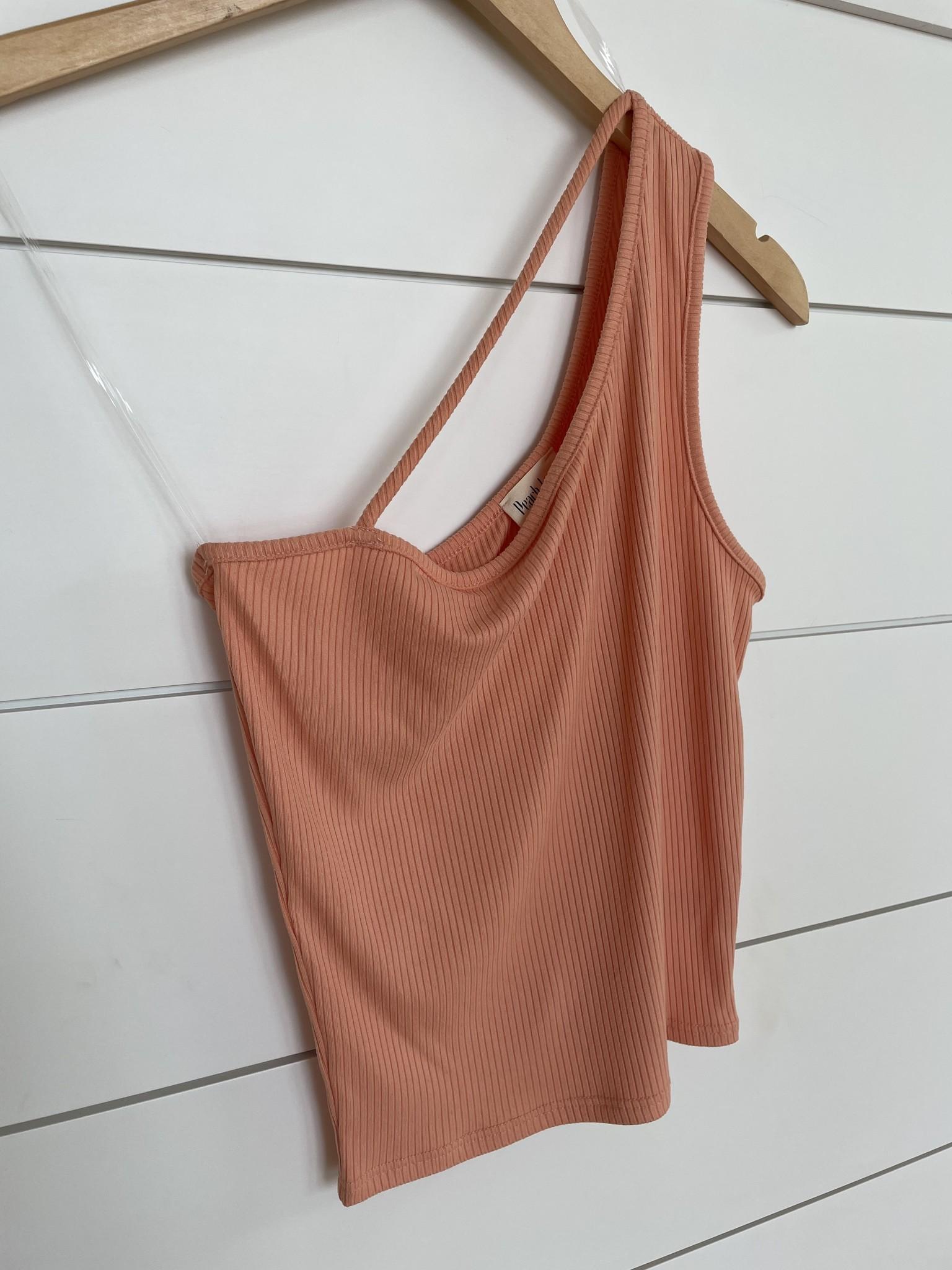 Dusty Orange One Shoulder Strap Detail Top
