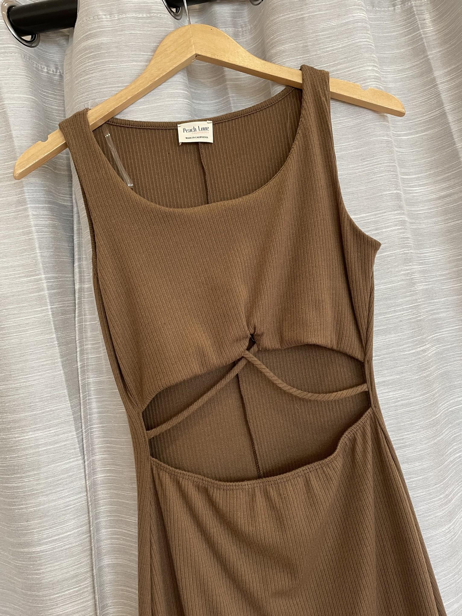 Dark Brown Knit Cut Out Front Rib Midi Dress