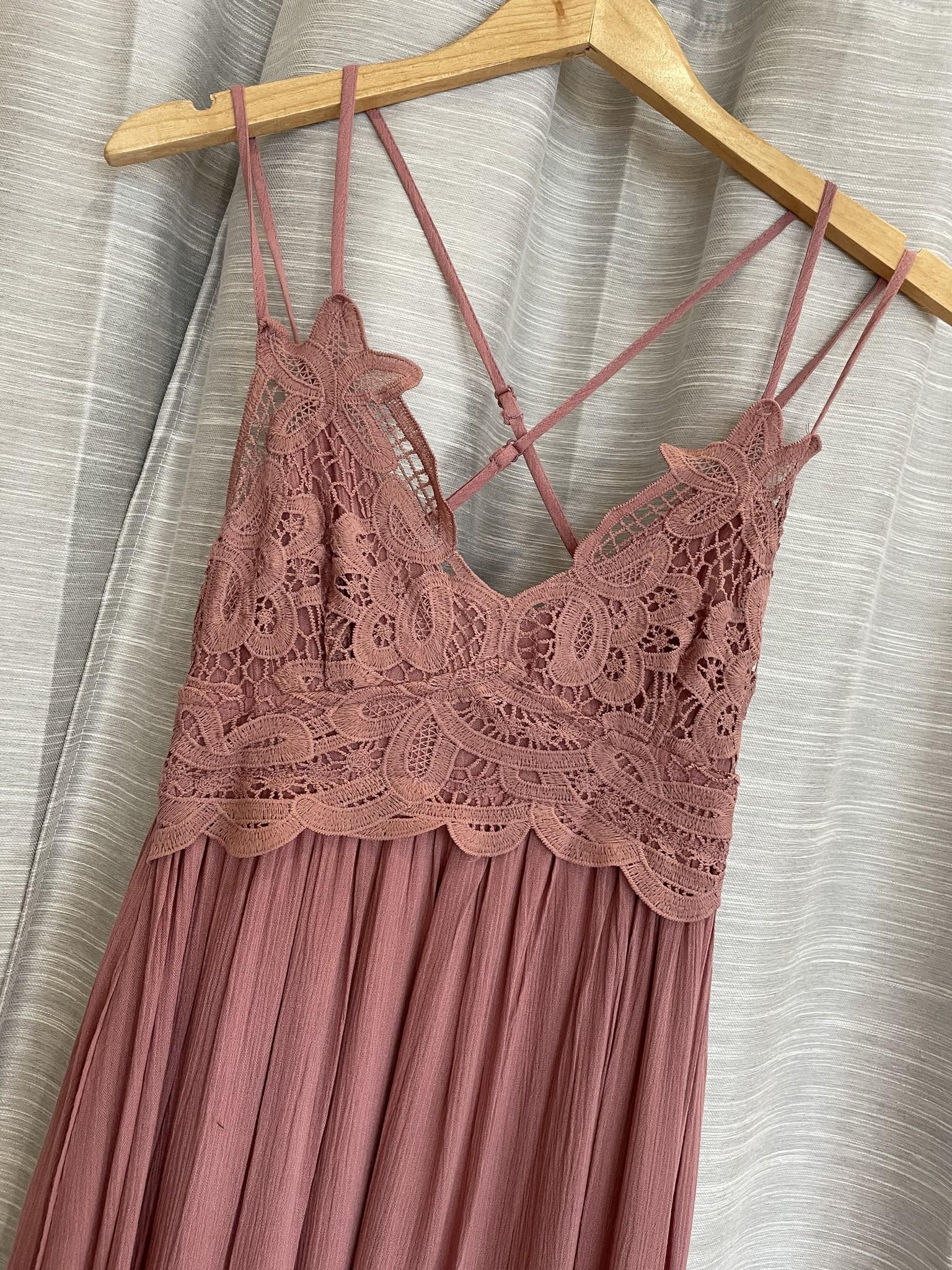 Crochet Lace Layered Maxi Dress