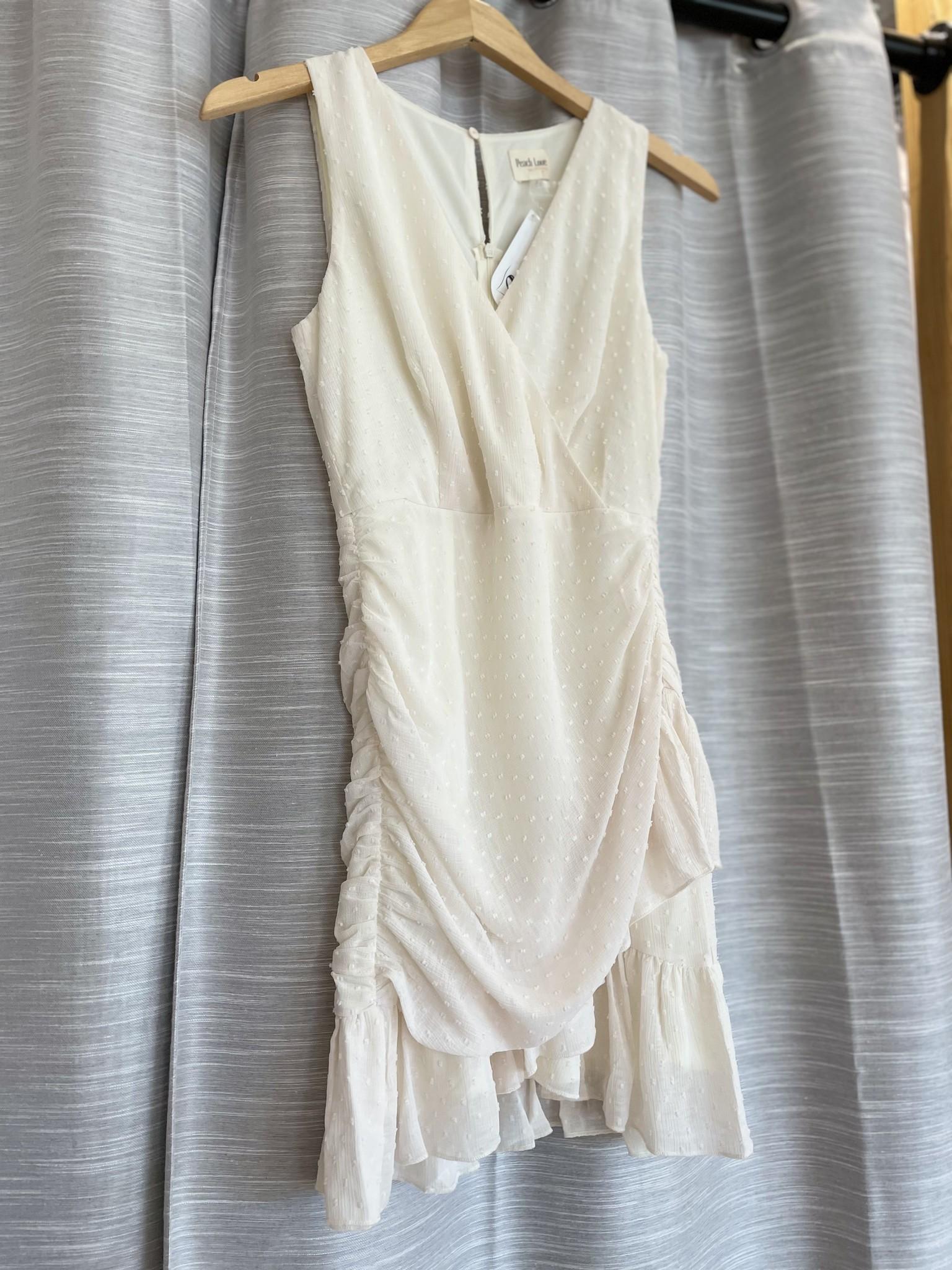Cream Solid Dot Sleeveless Wrap Dress
