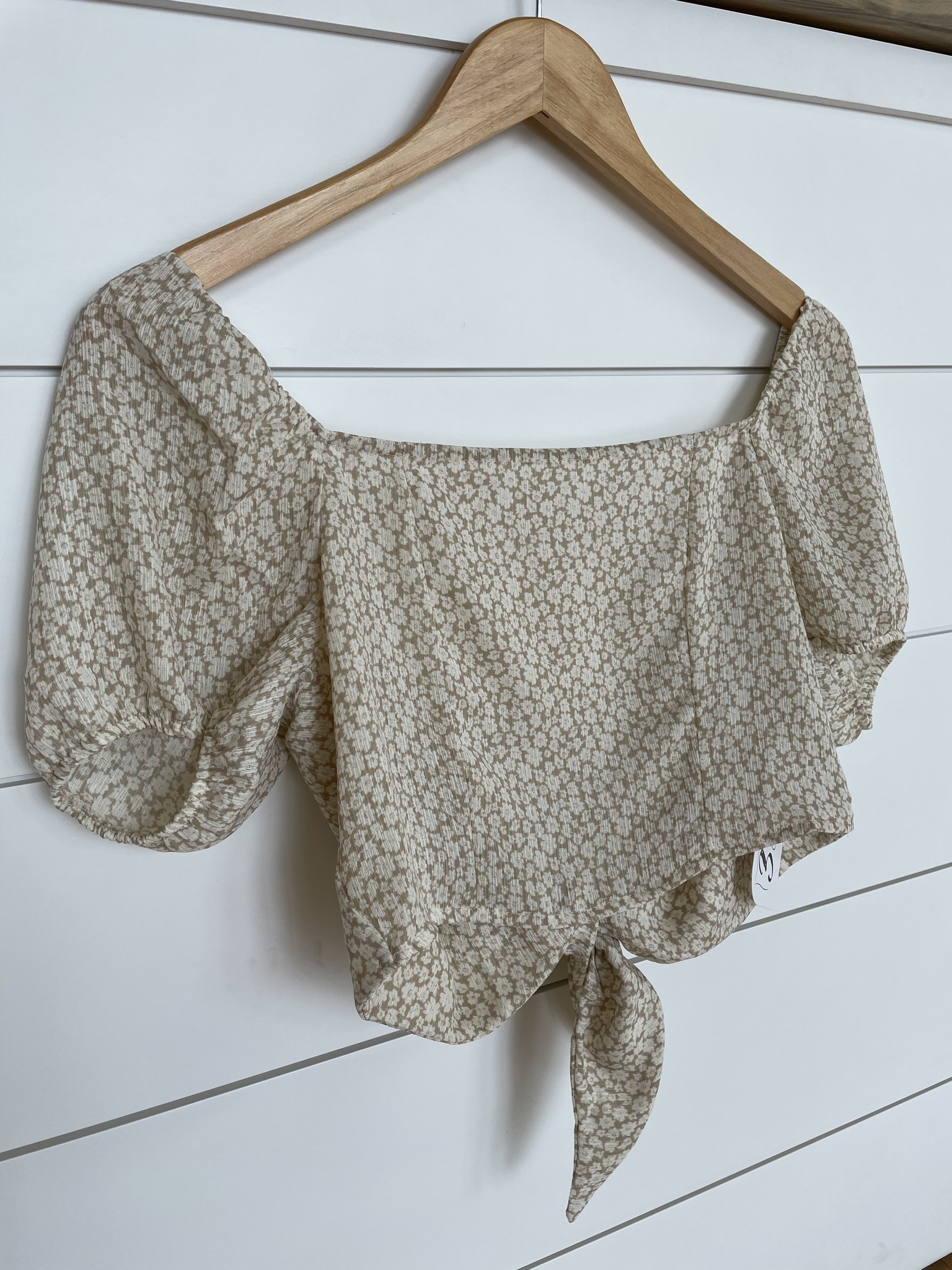 Taupe/Ivory Square Neck Tie Back Top