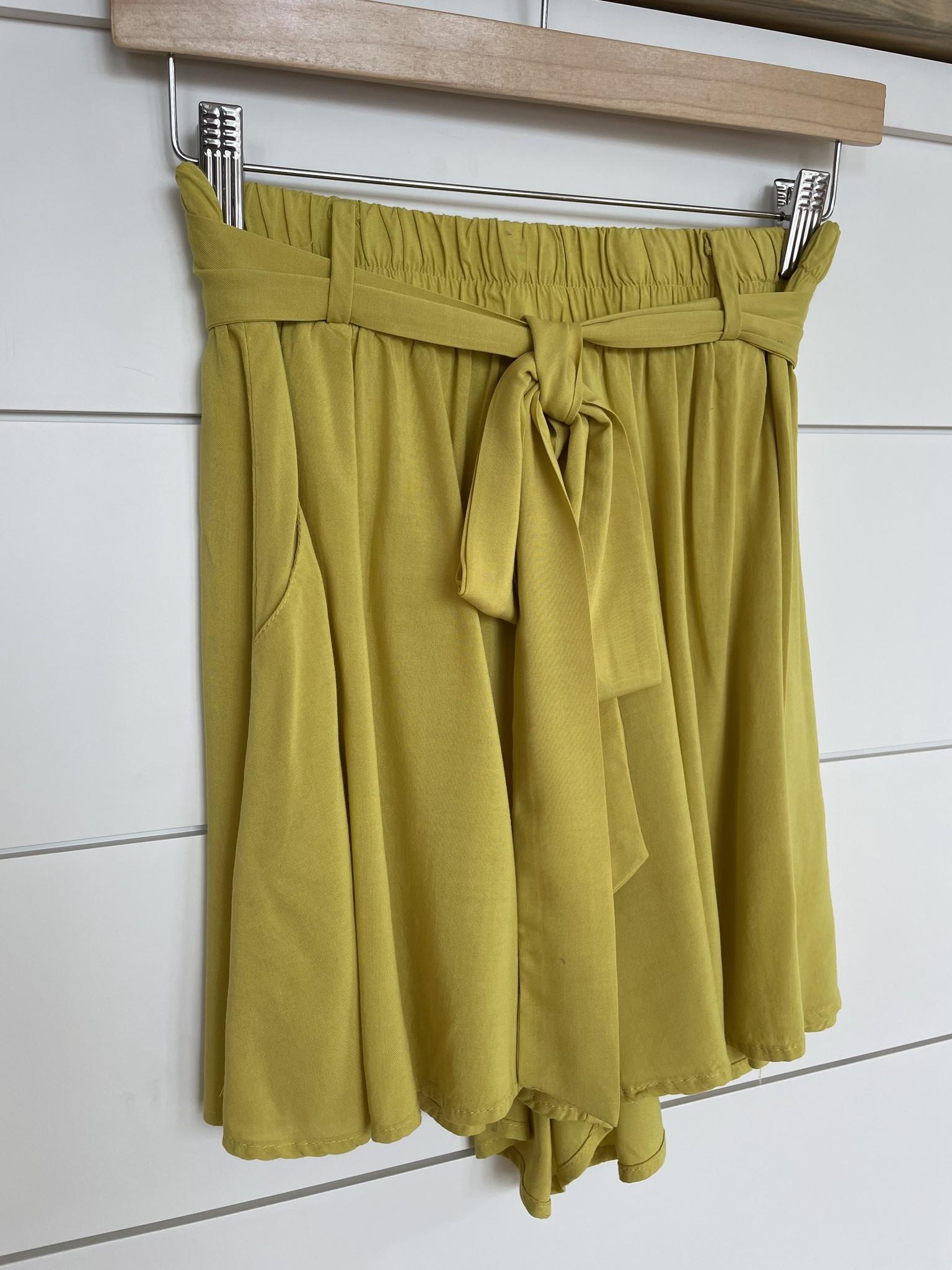 Citron High Waist Belted Shorts