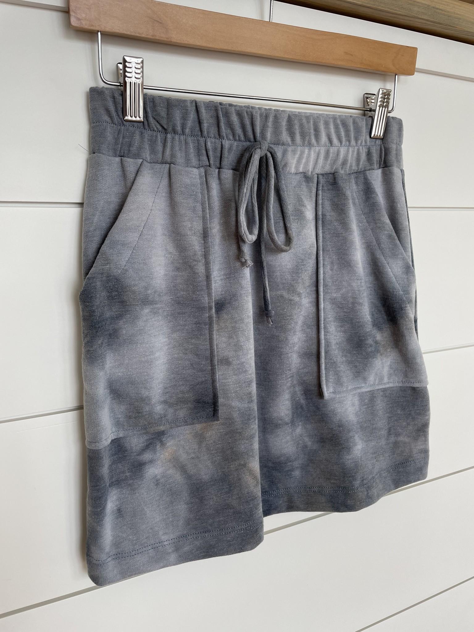 Blue Tie Dye Front Pocket Knit Skirt
