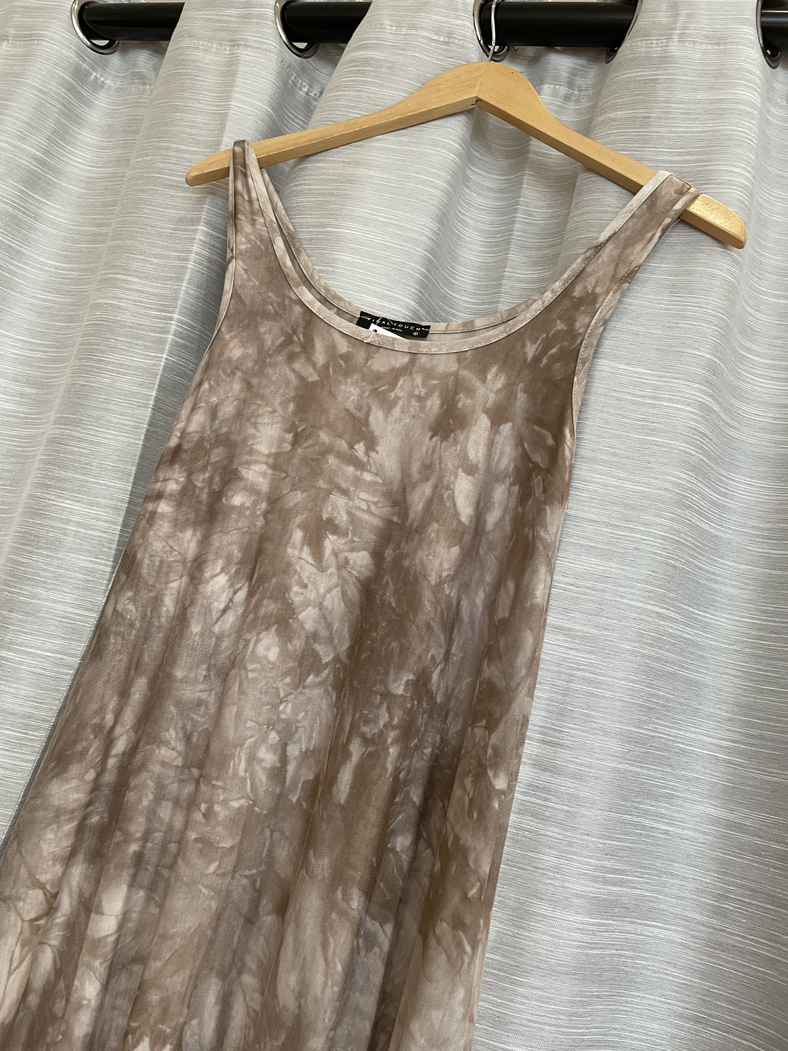 Stone/White Tie Dye Effect Maxi Dress with Side Slits