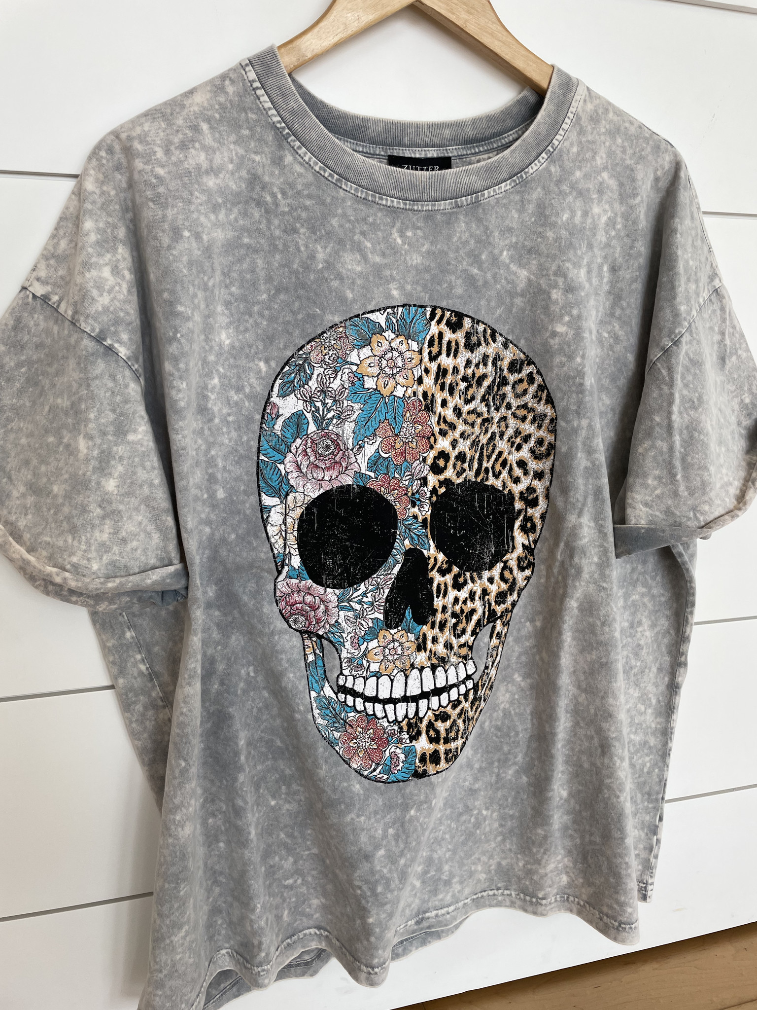 Grey Denim Floral Leopard Skull Graphic Tee
