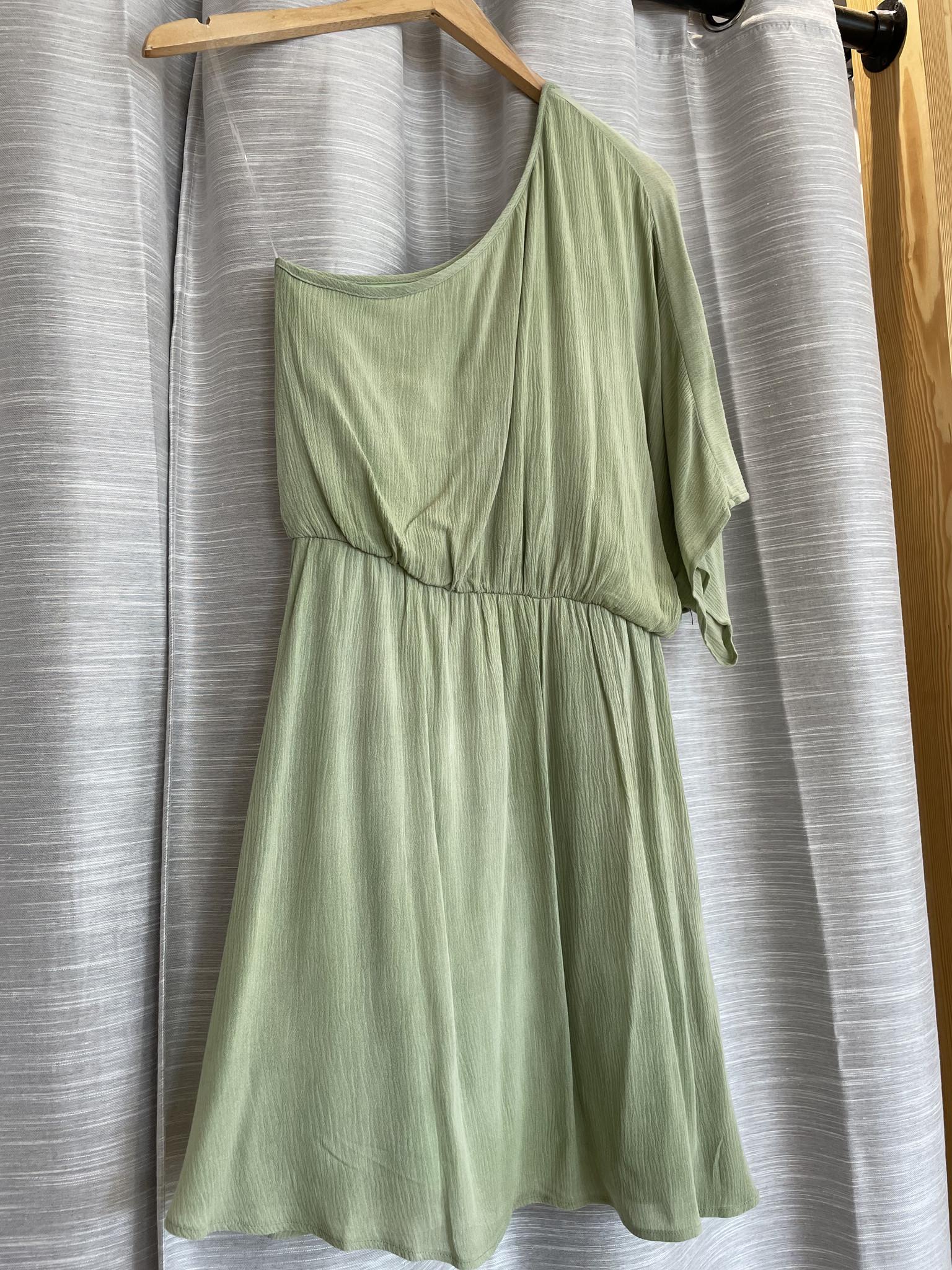One Shoulder Washed Gauze Mini Dress