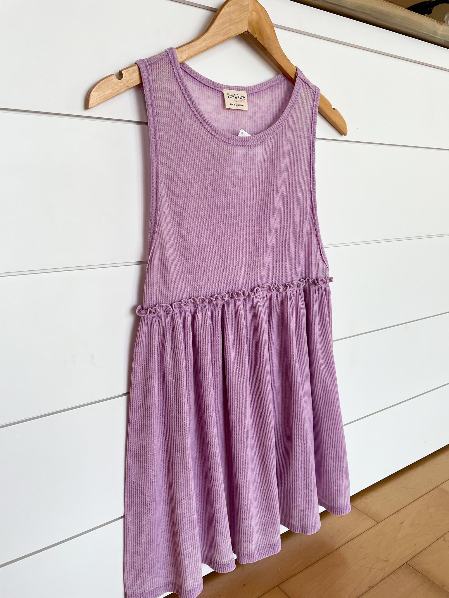 Purple Waffle Knit Babydoll Top