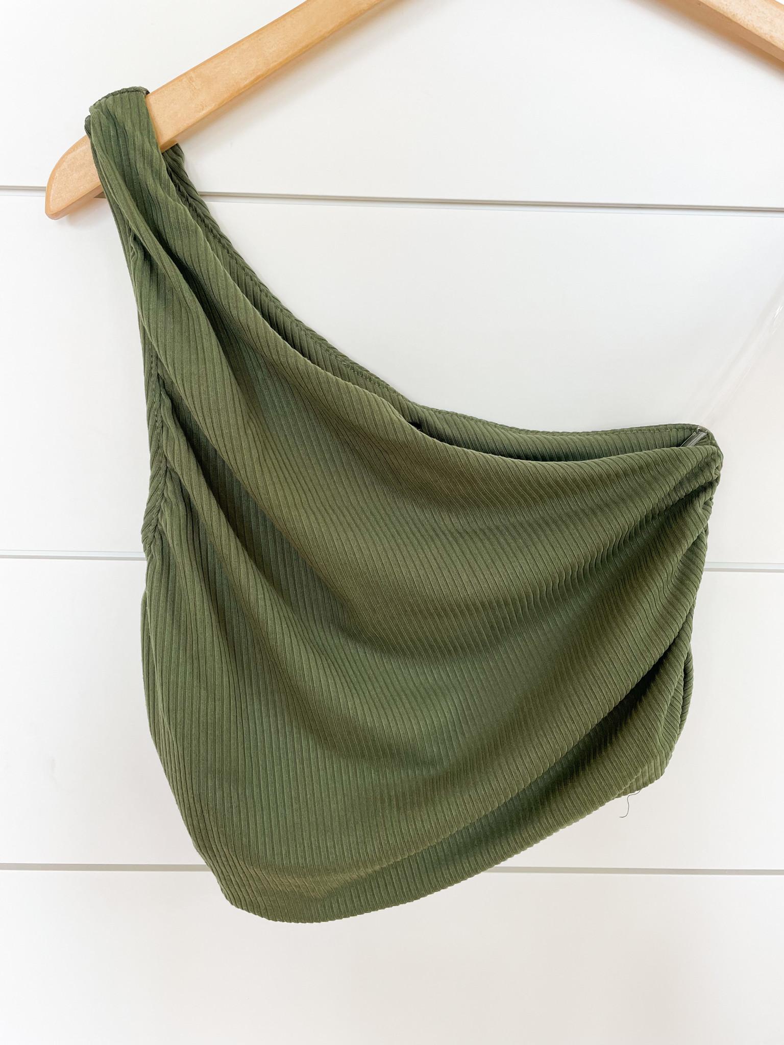 Moss Green One Shoulder Crop Top