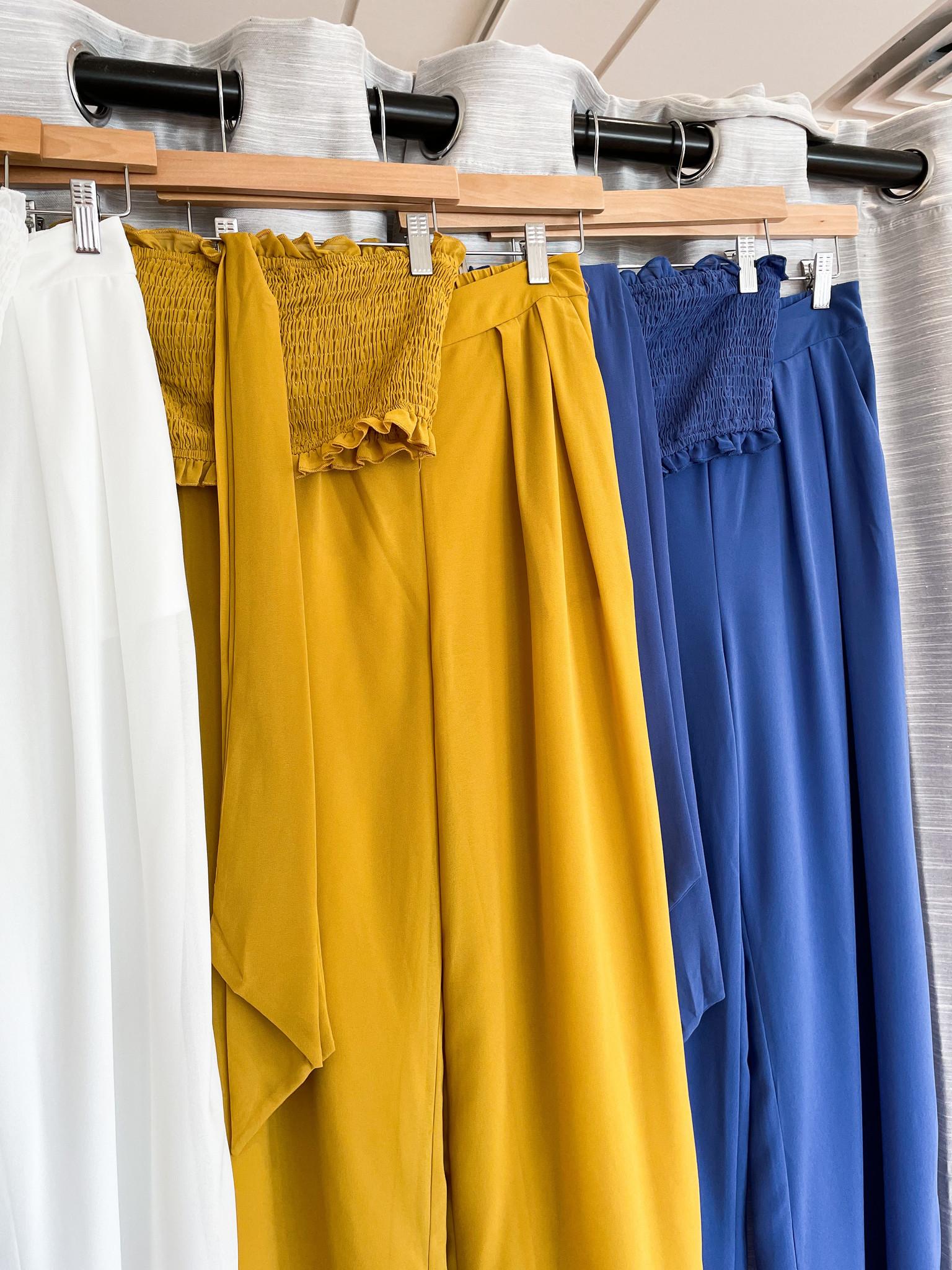 Woven Top & Pants Set With Elastic Waist