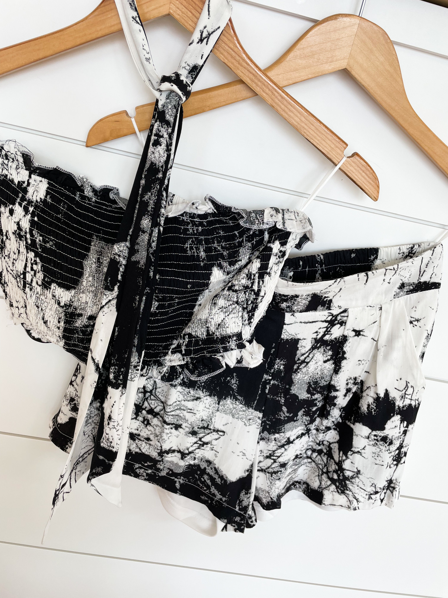 Black Printed Woven Set