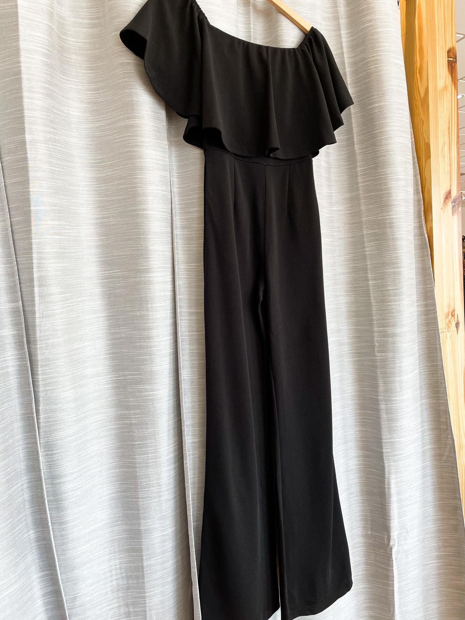 Black Off Shoulder Jumpsuit With Pockets
