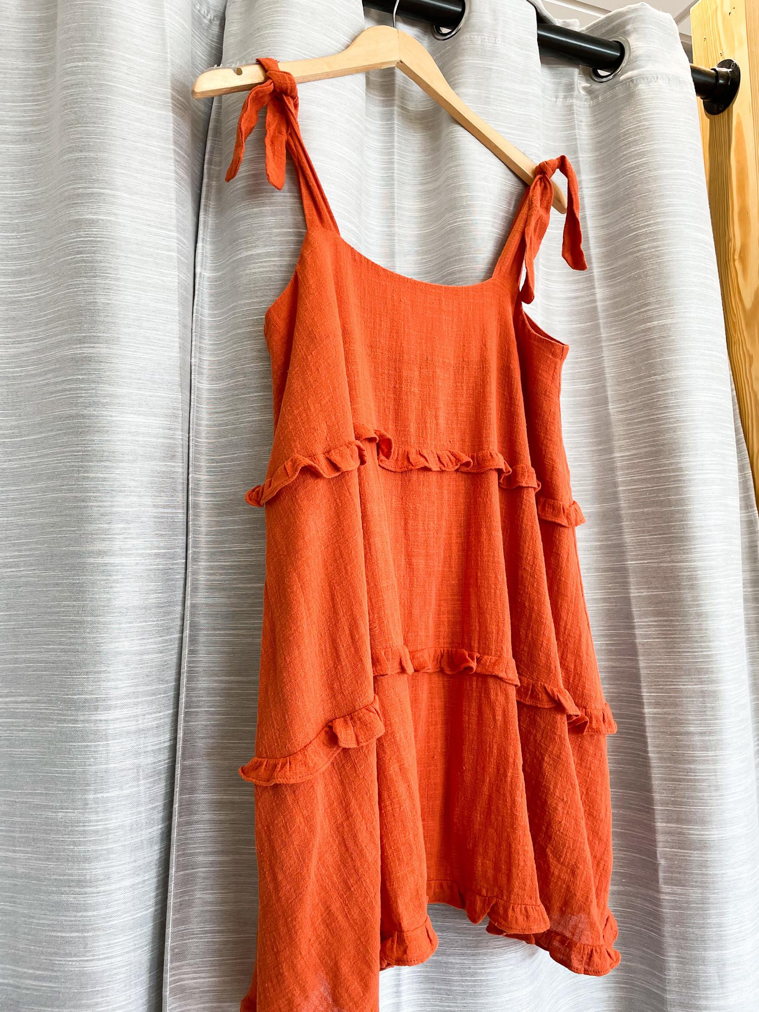 Rust Tie Strap Ruffle Dress