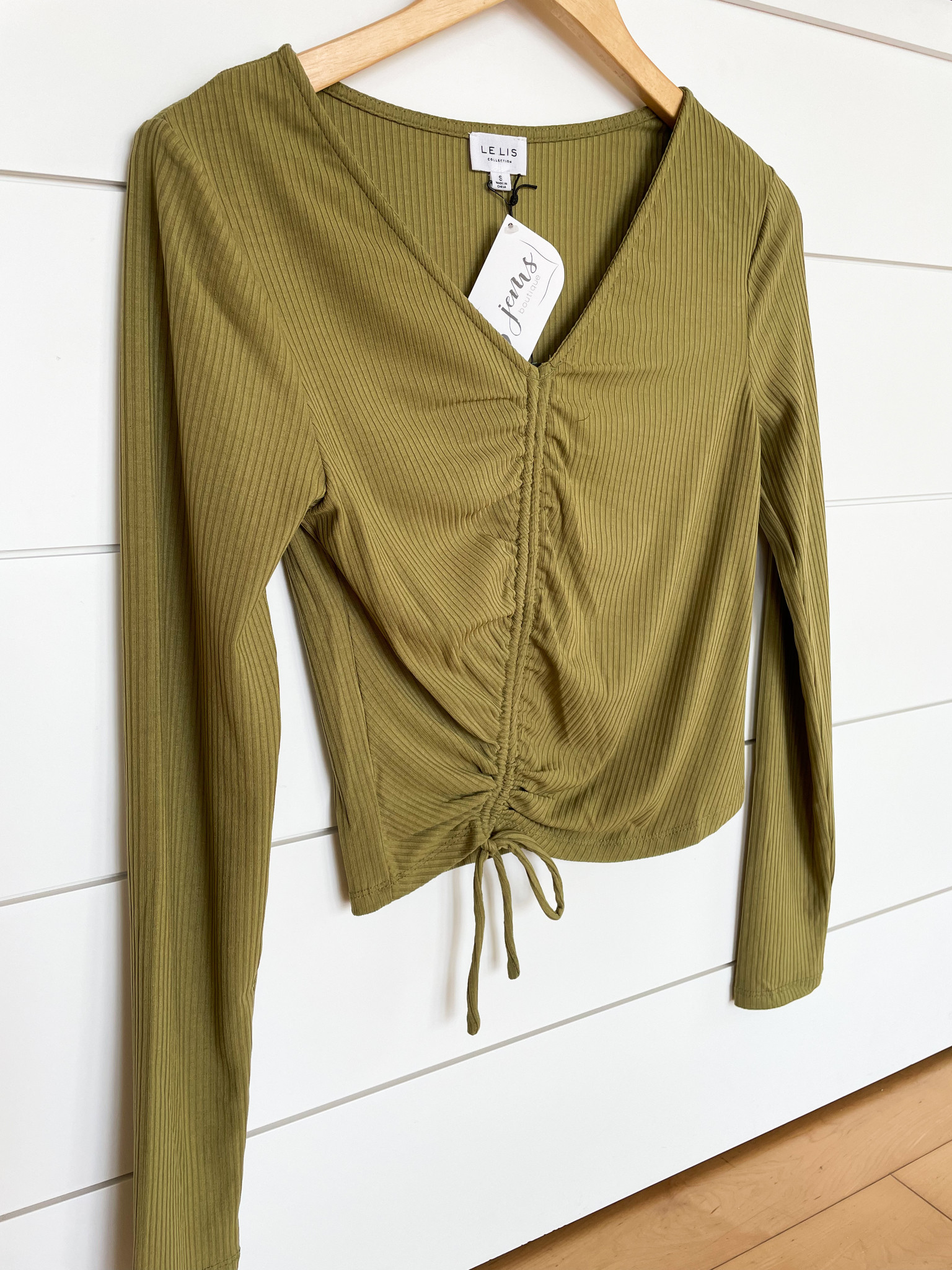 Green Long Sleeve Front Ruching Top