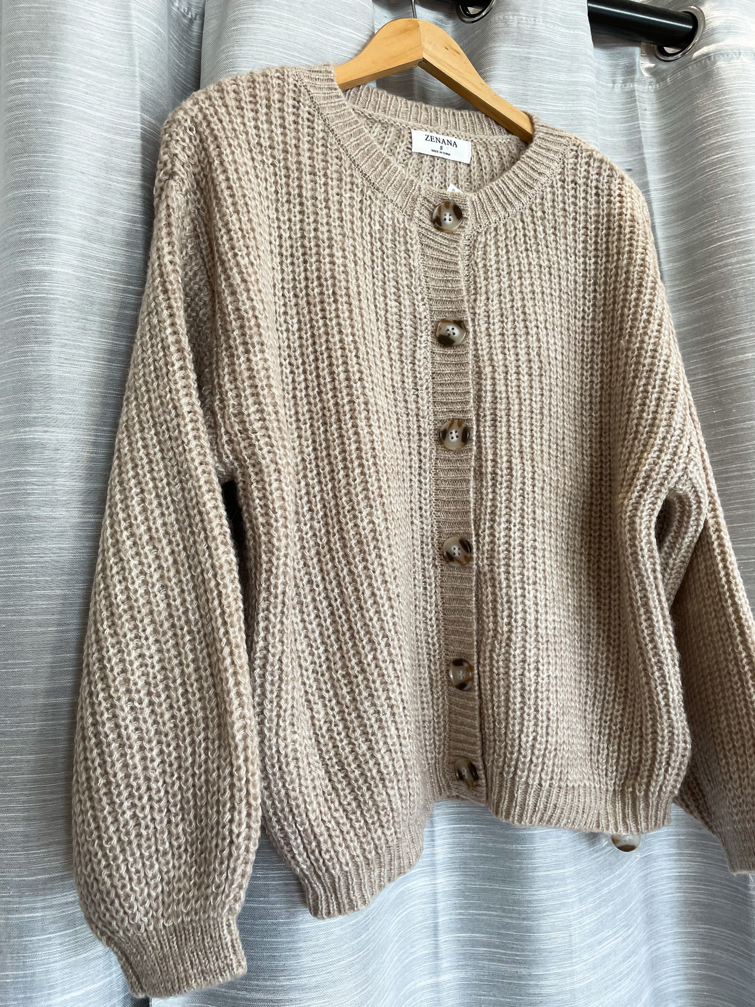 Balloon Sleeve Thick Knit Button Front Cardigan