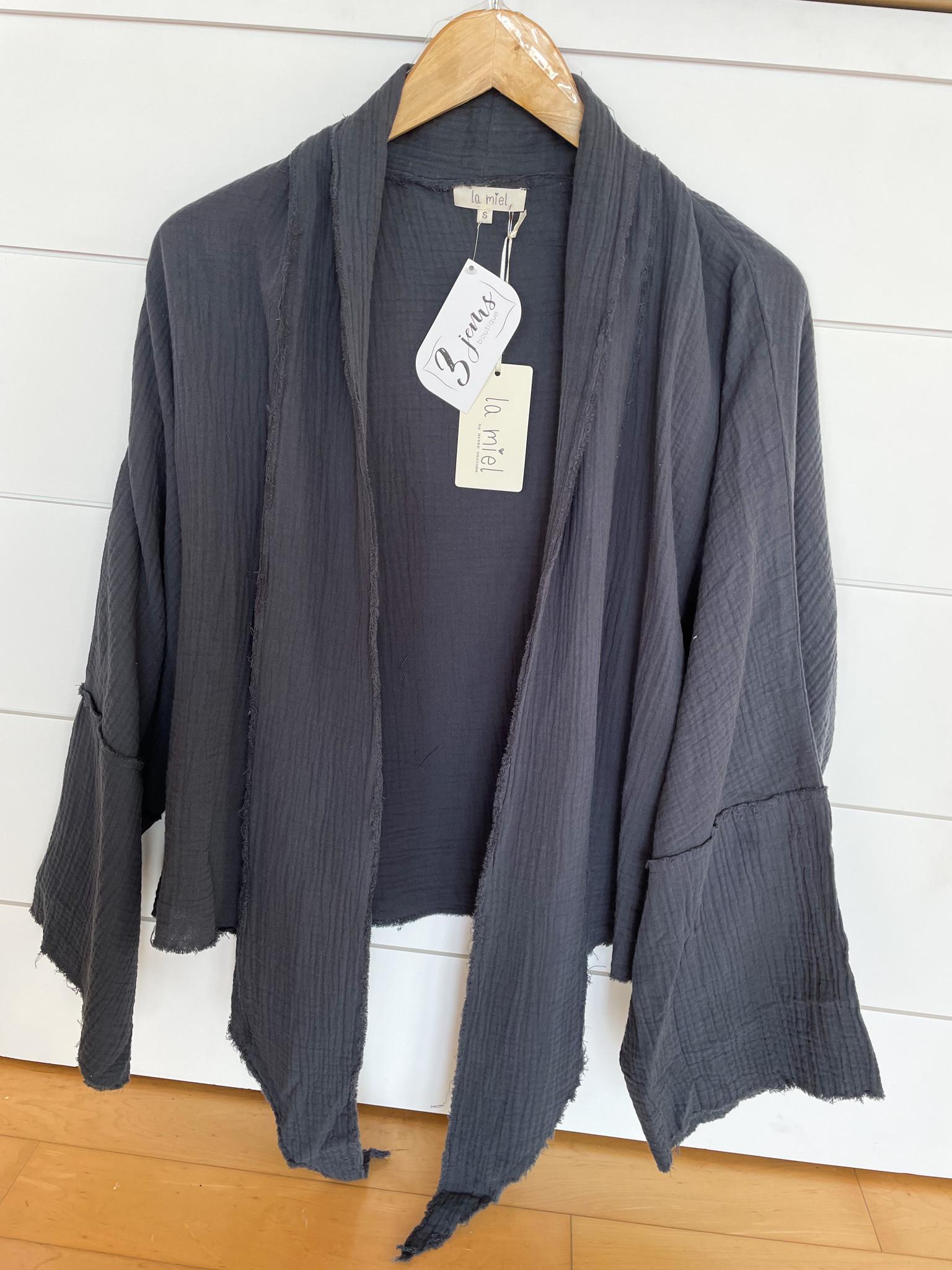Dark Teal Tie Front Open Cardigan