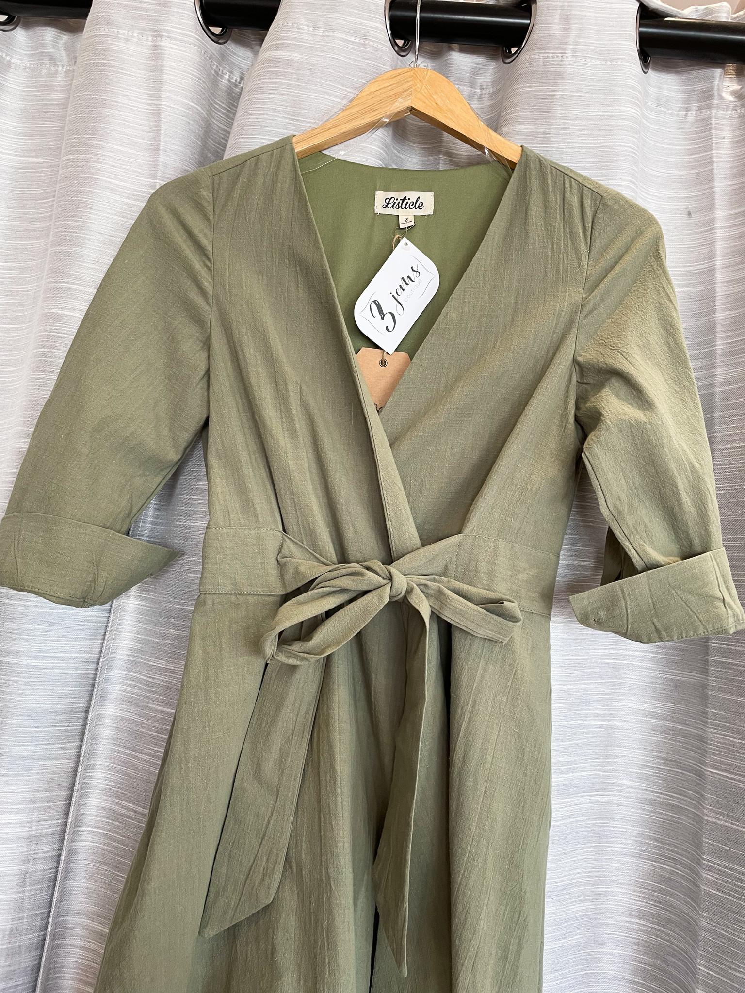 Olive Woven Wrap Dress W/Waist Tie