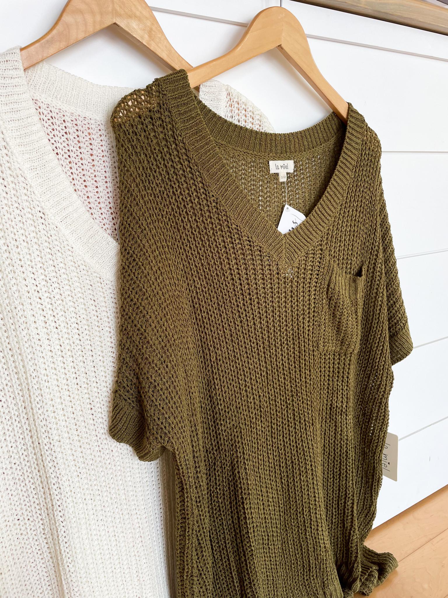 V-Neckline Slouchy Short Sleeve Sweater Top