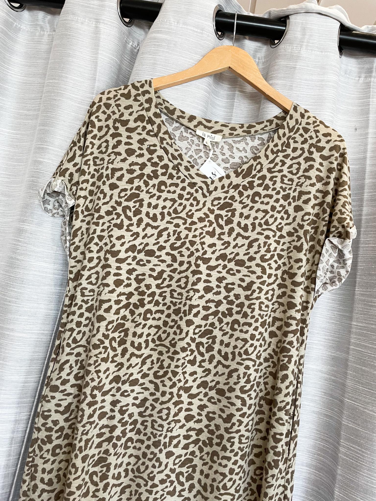 Light Olive Lightweight Leopard Maxi Dress With Side Slit