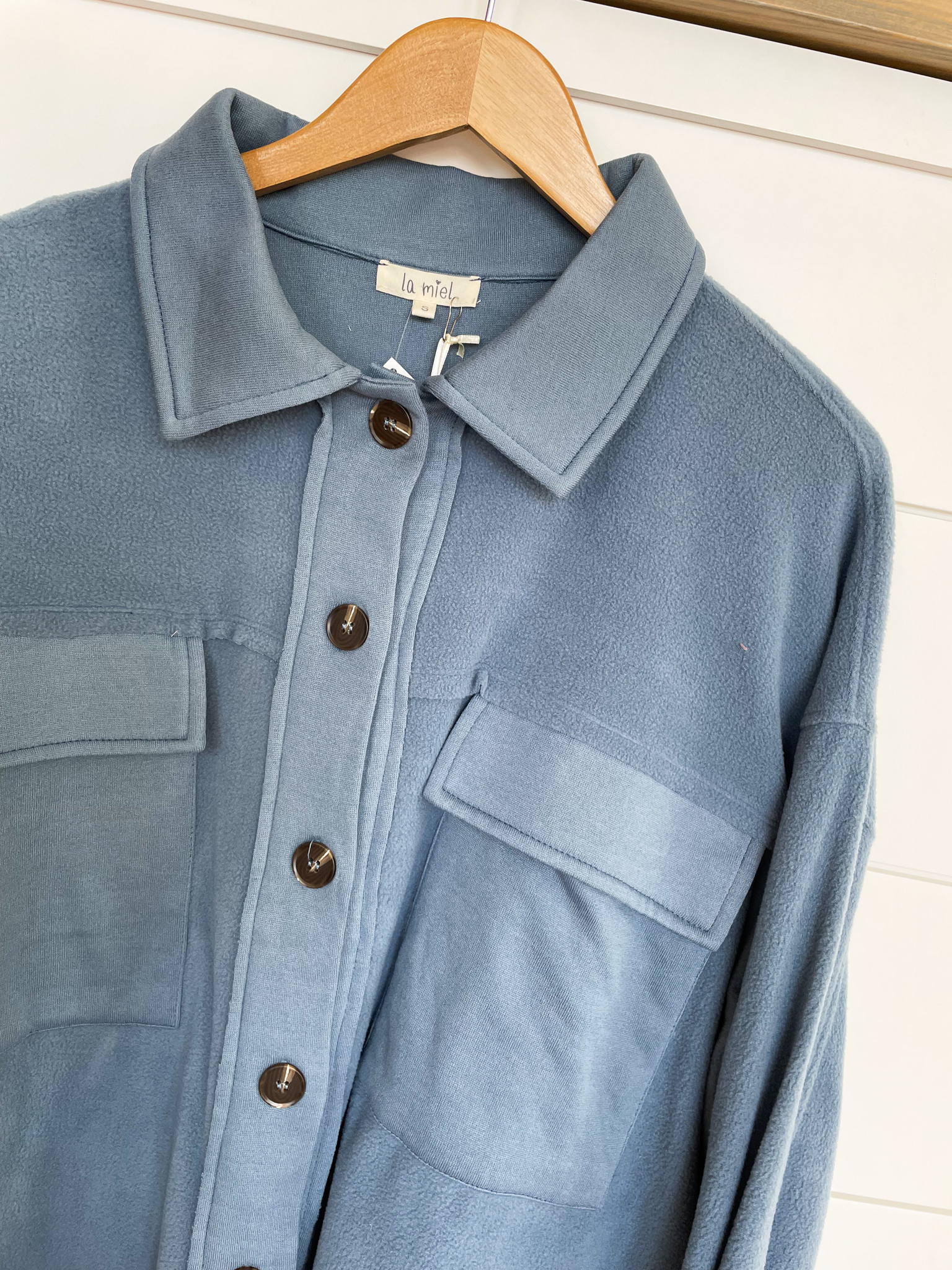 Collared Button Up Polyester Jacket