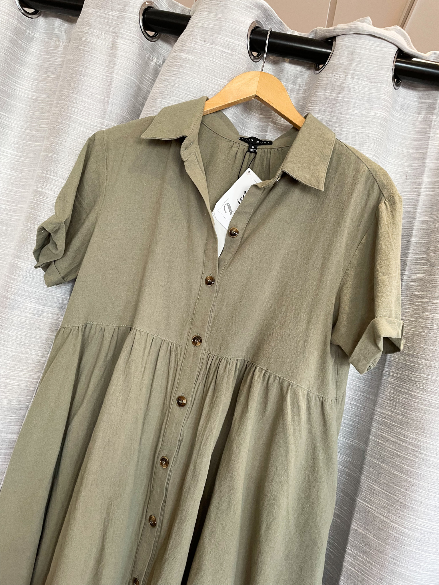 Light Olive Button Down Shirt Dress