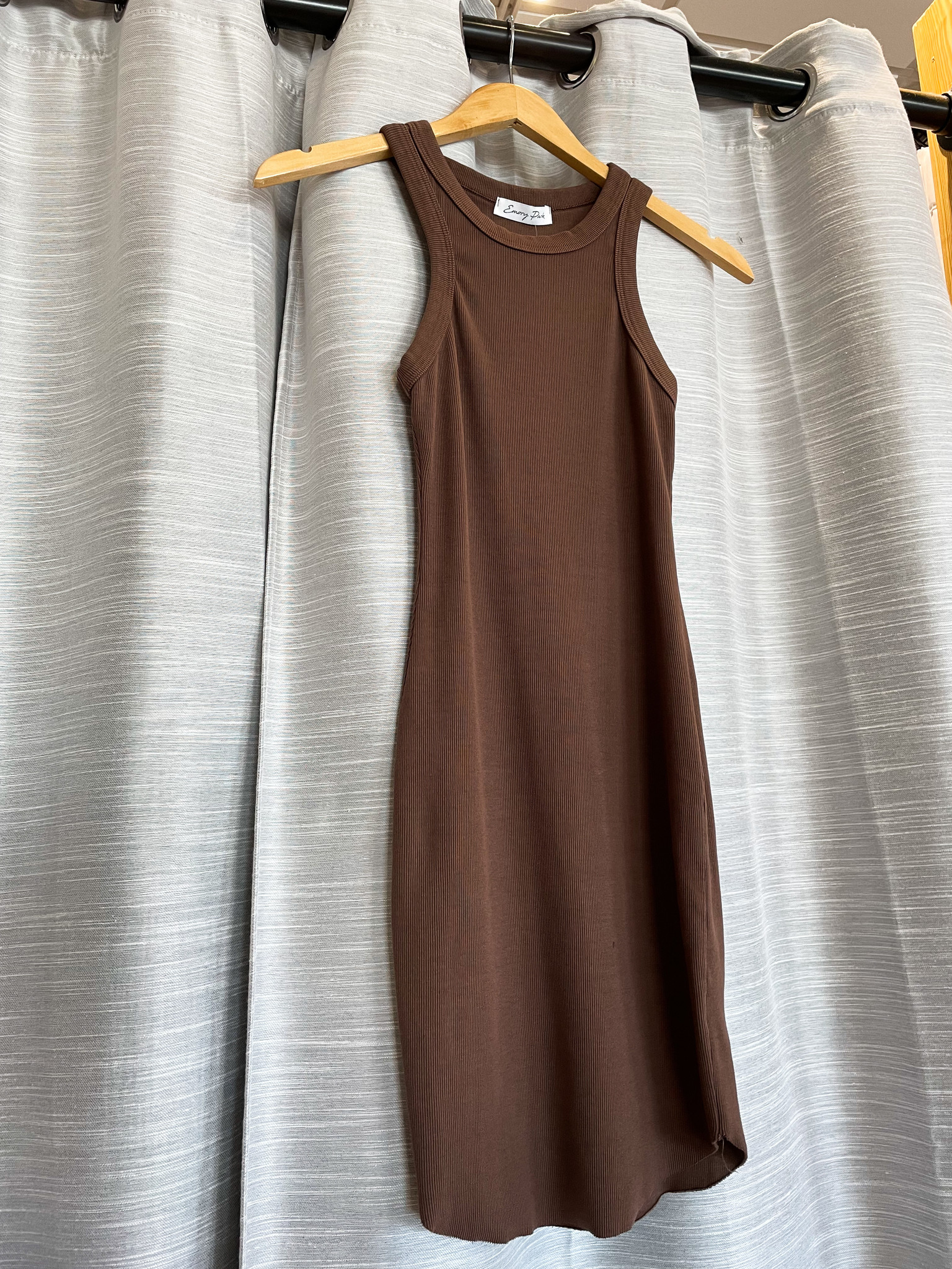 Ribbed Solid Midi Dress