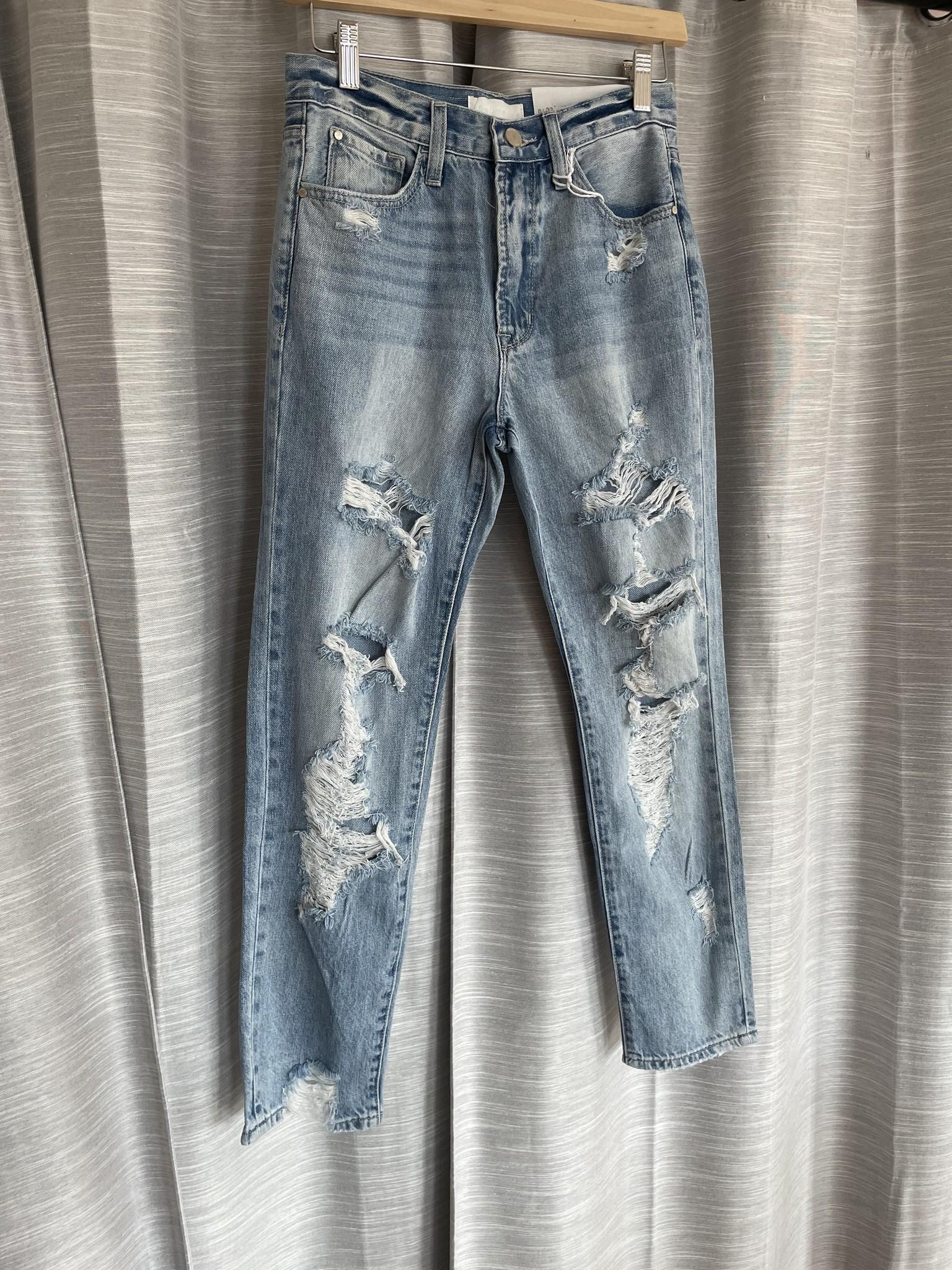 Light Blue 5 Pocket Extra Distressed Jean