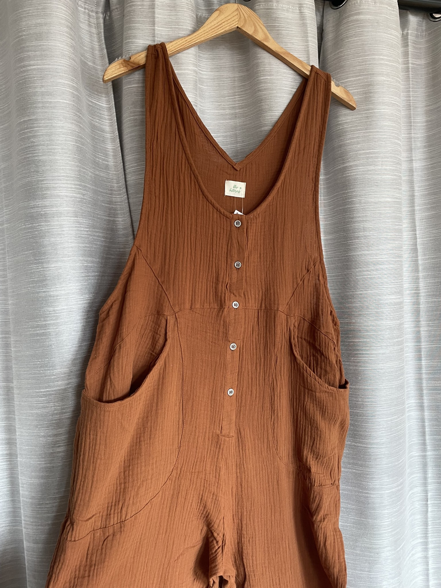 Rust Gauze Button Down Overall Jumpsuit