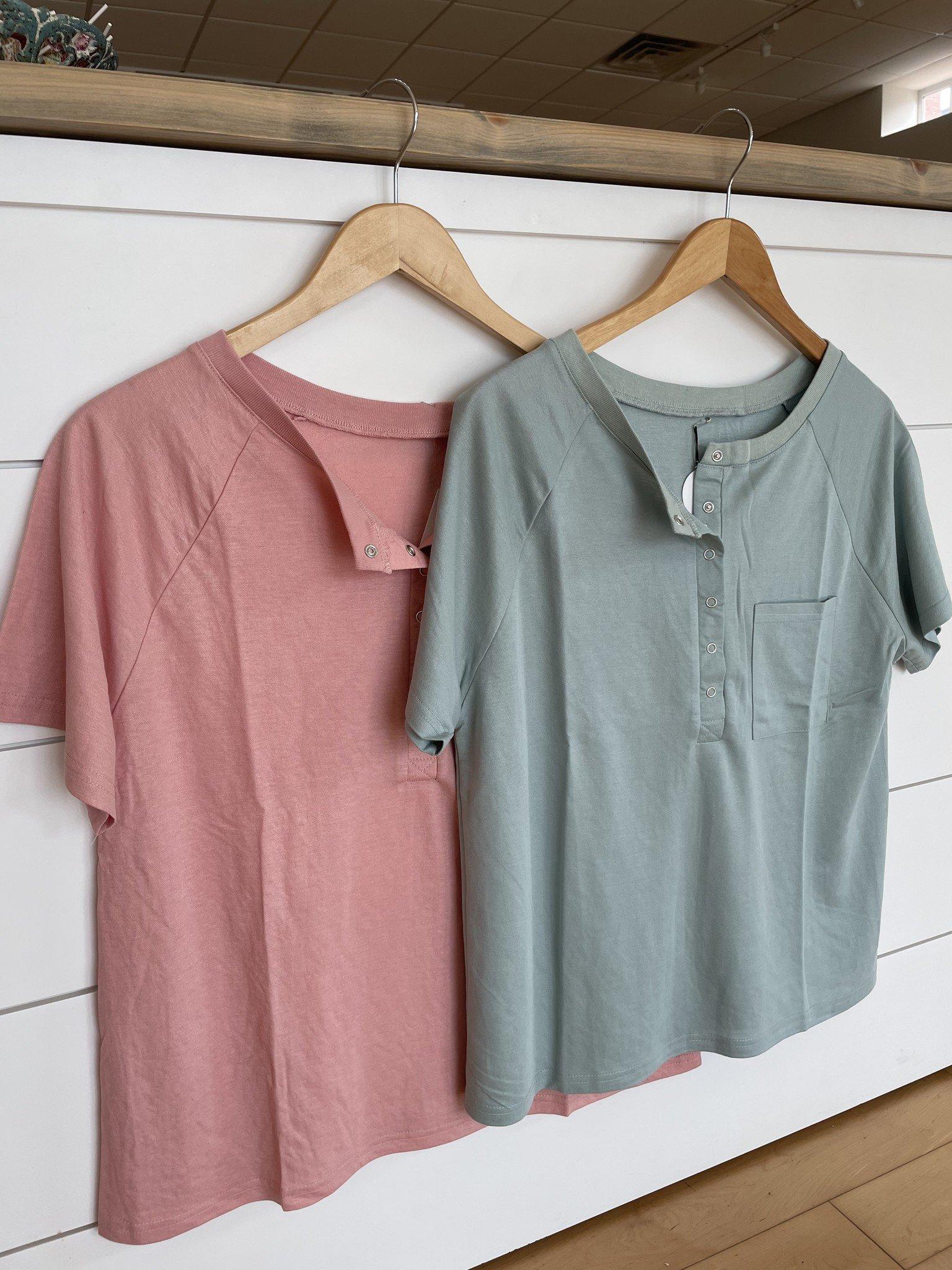 Lightweight Soft Half Button Down T-Shirt