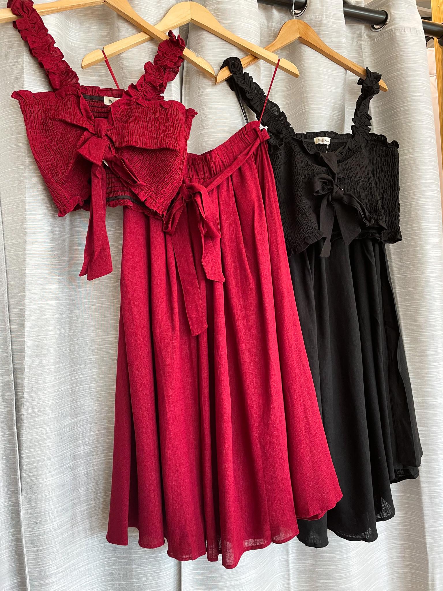 Smocked Top W/Matching Midi Skirt