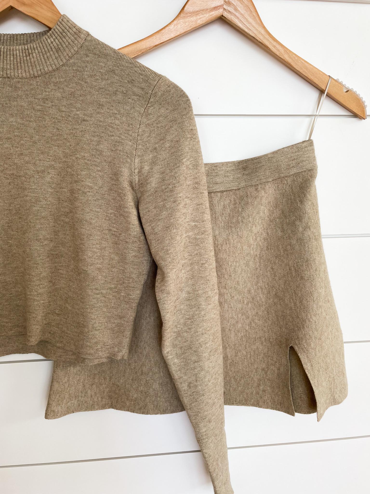 Sweater Mock Neck Crop Top & Slit Mini Skirt Set
