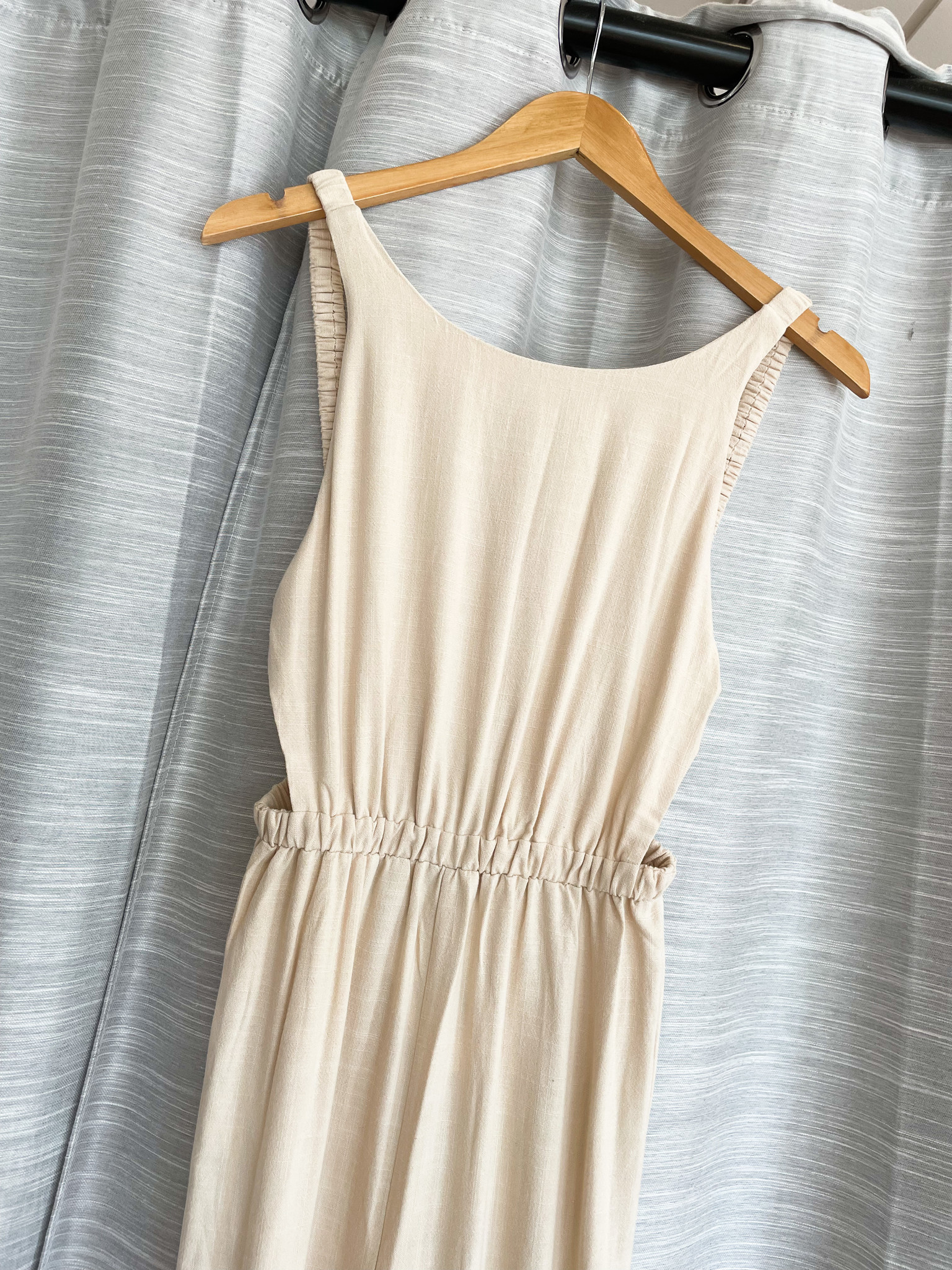 Taupe Sleeveless Elastic Detail Open Back Jumpsuit