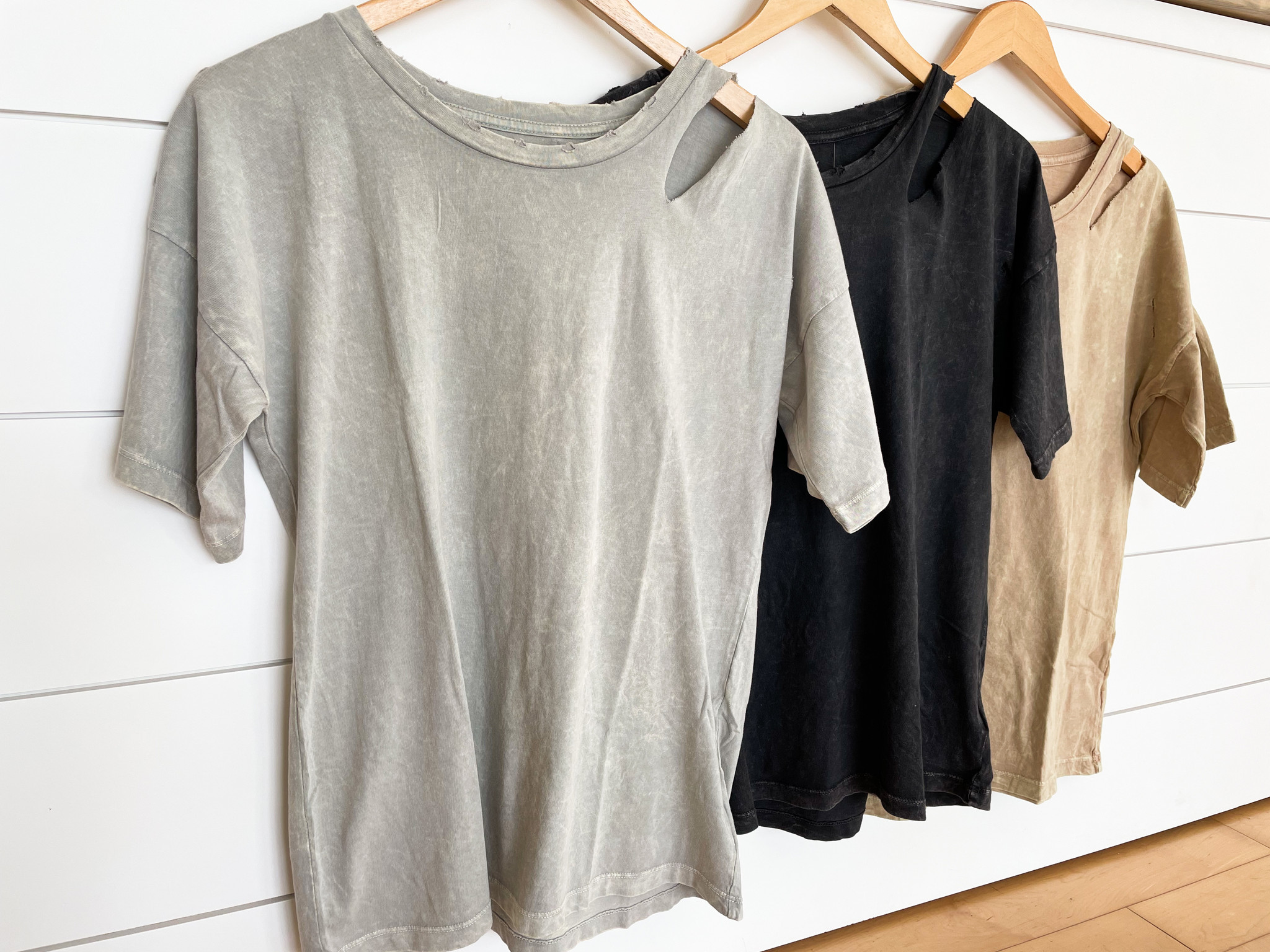 Mineral Washed Distressed Detail T-Shirt