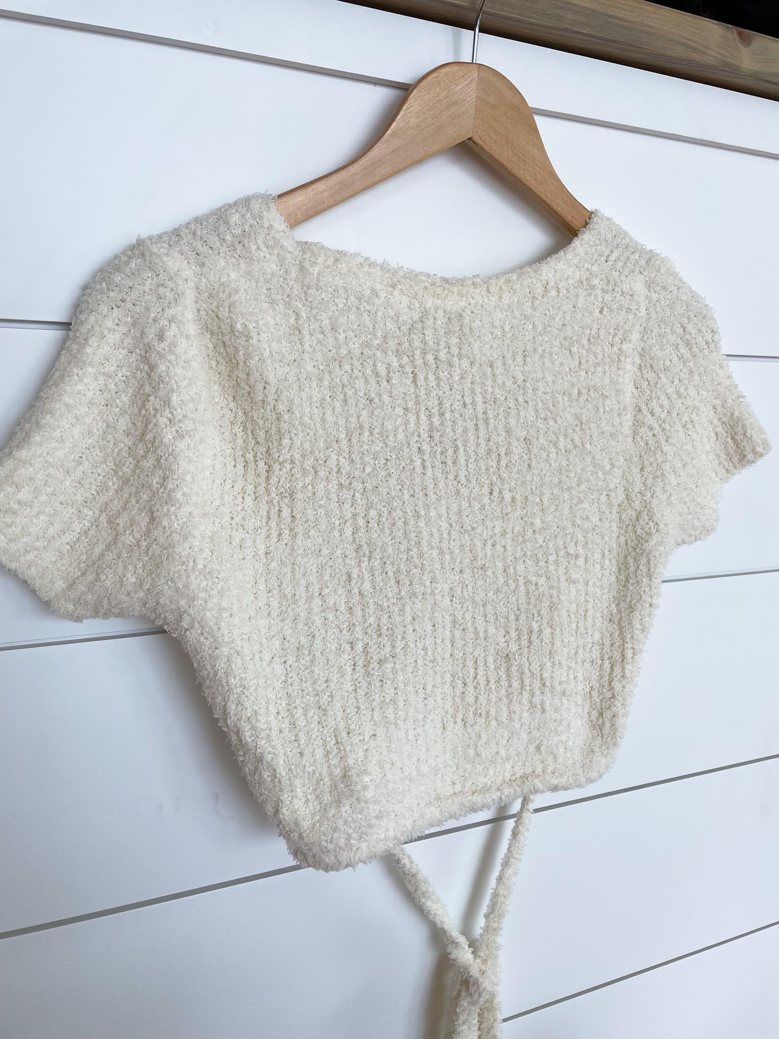 Ivory Fuzzy Tie Back Cropped Sweater