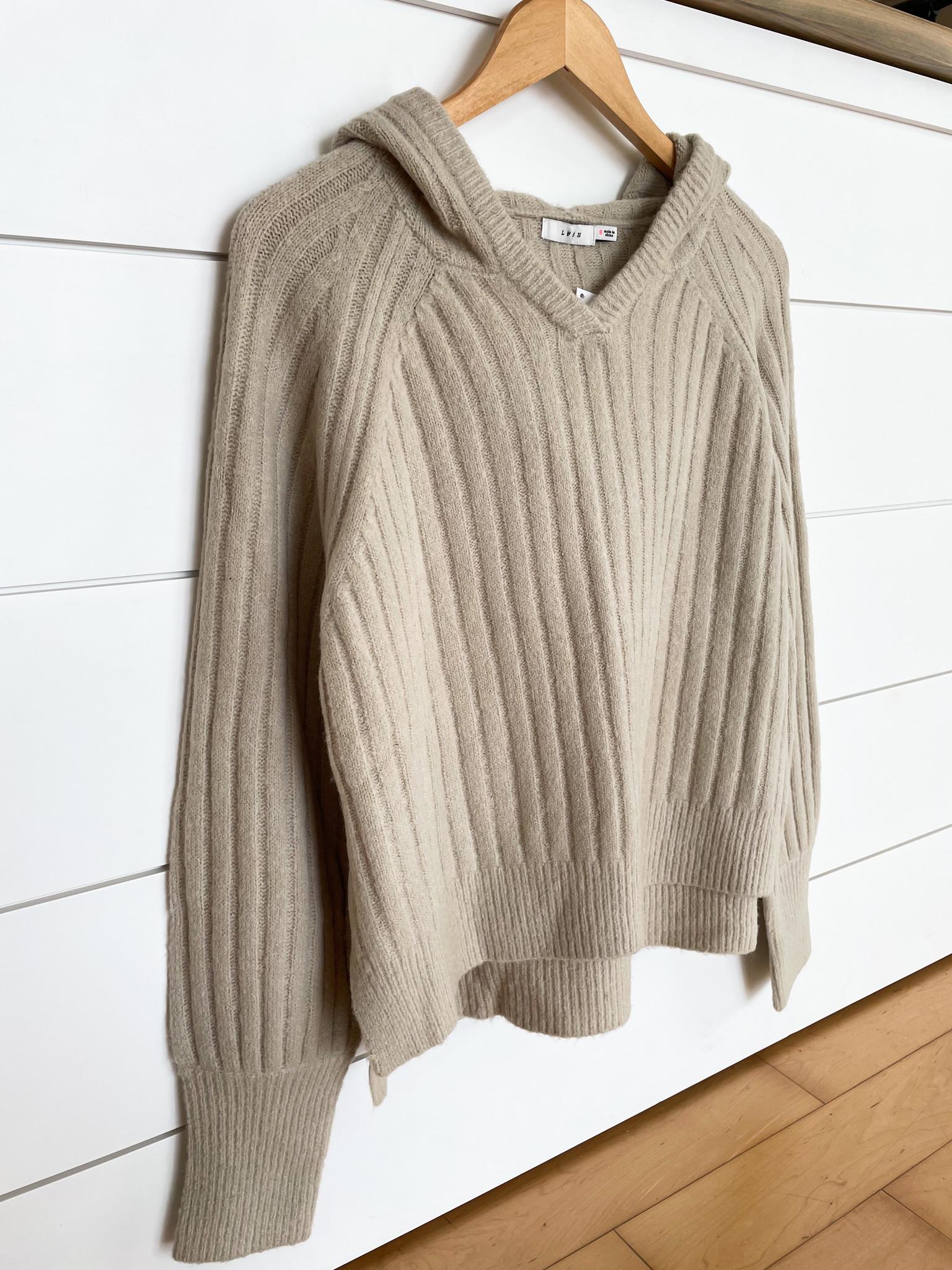 Gray-Cream Ribbed Hoodie Sweater