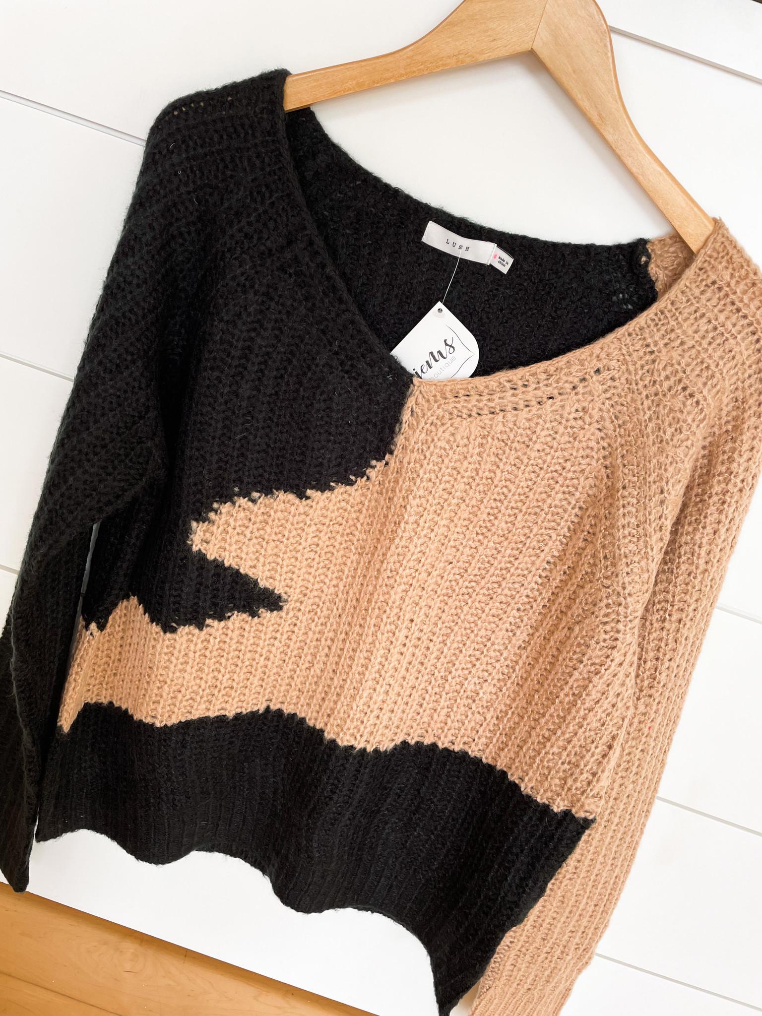 Black Camel Wavy Color Block Sweater