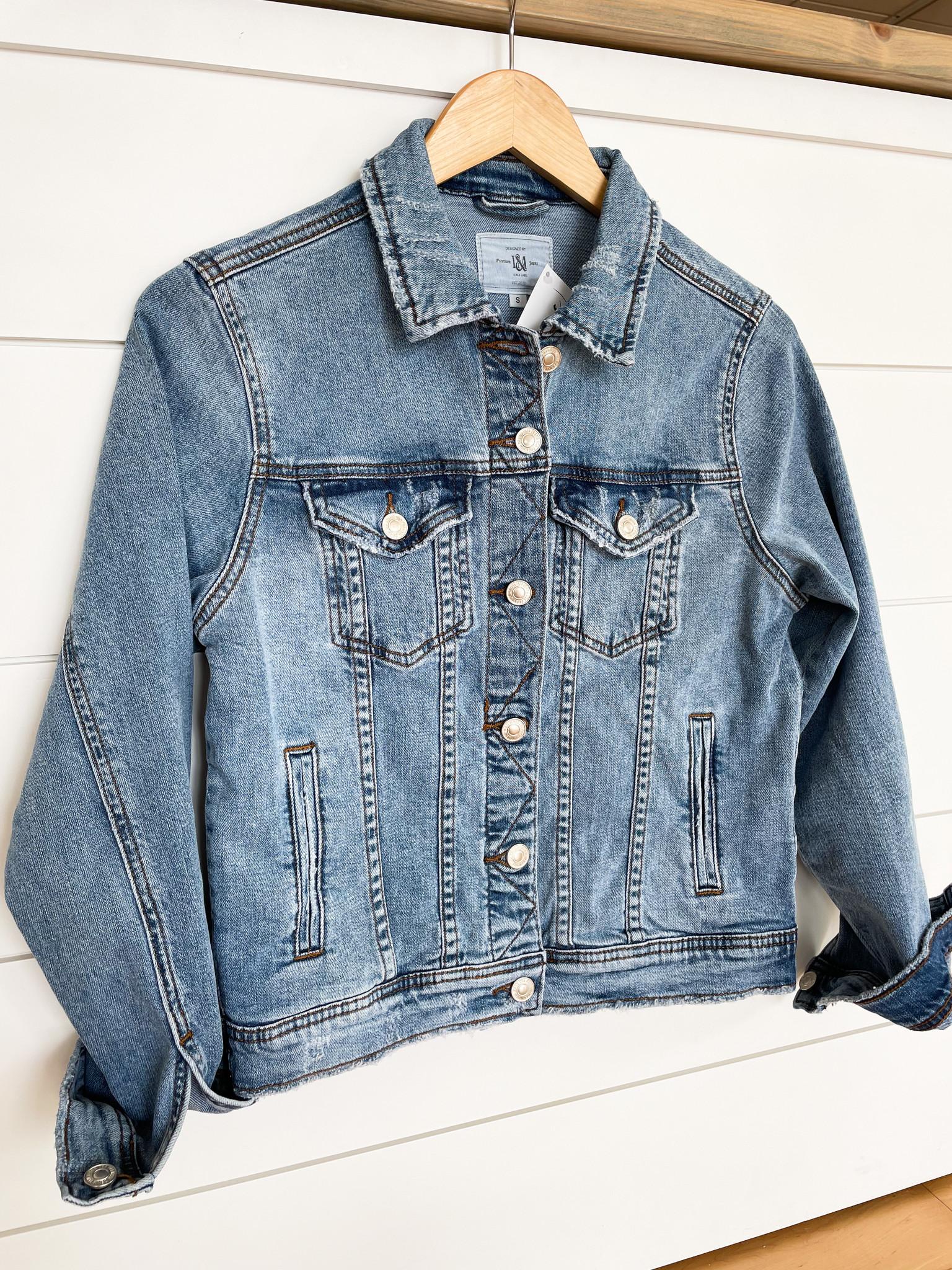 Medium Blue Distressed Denim Jacket