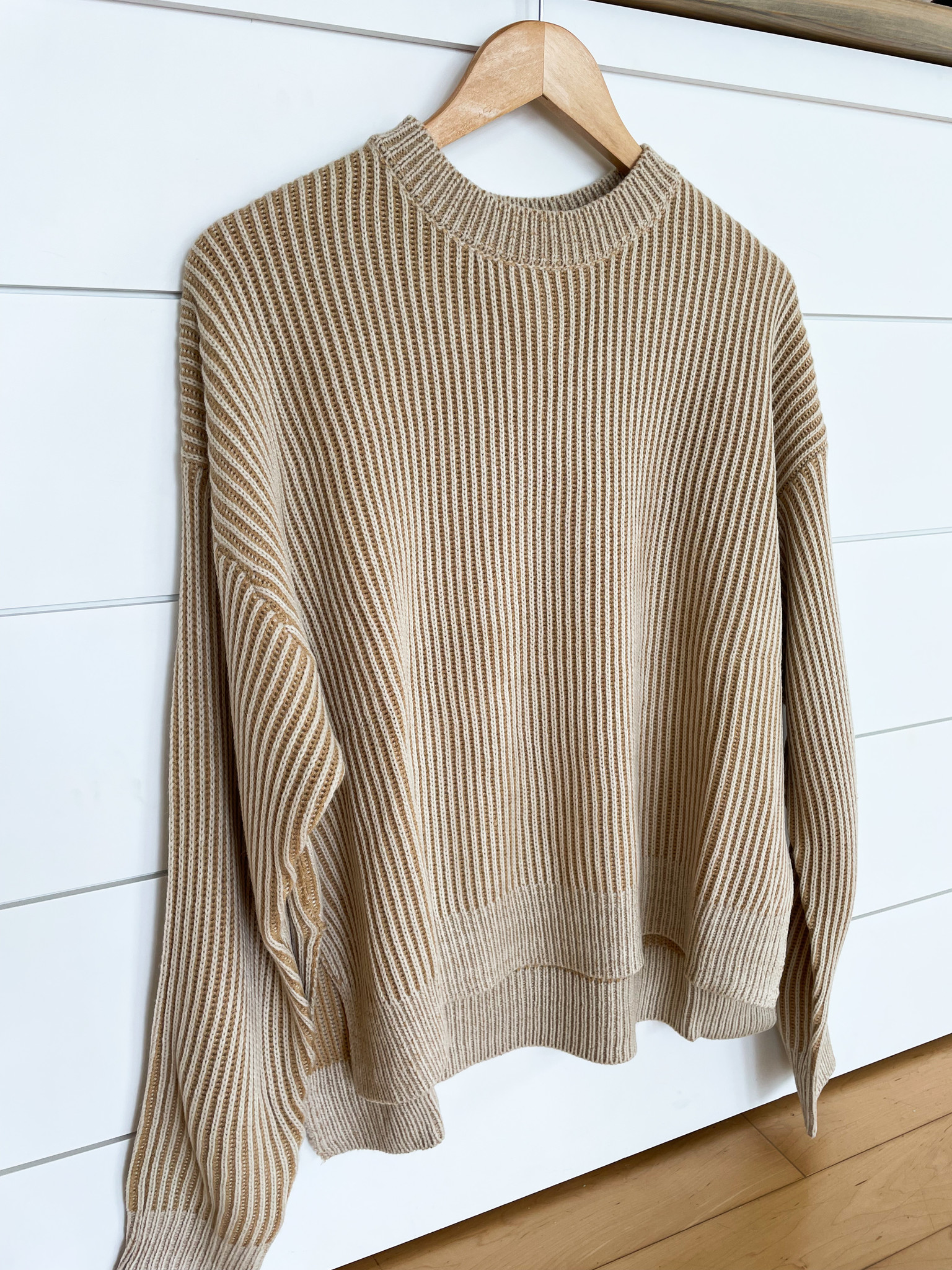 Taupe Long Sleeve Rib Knit Sweater