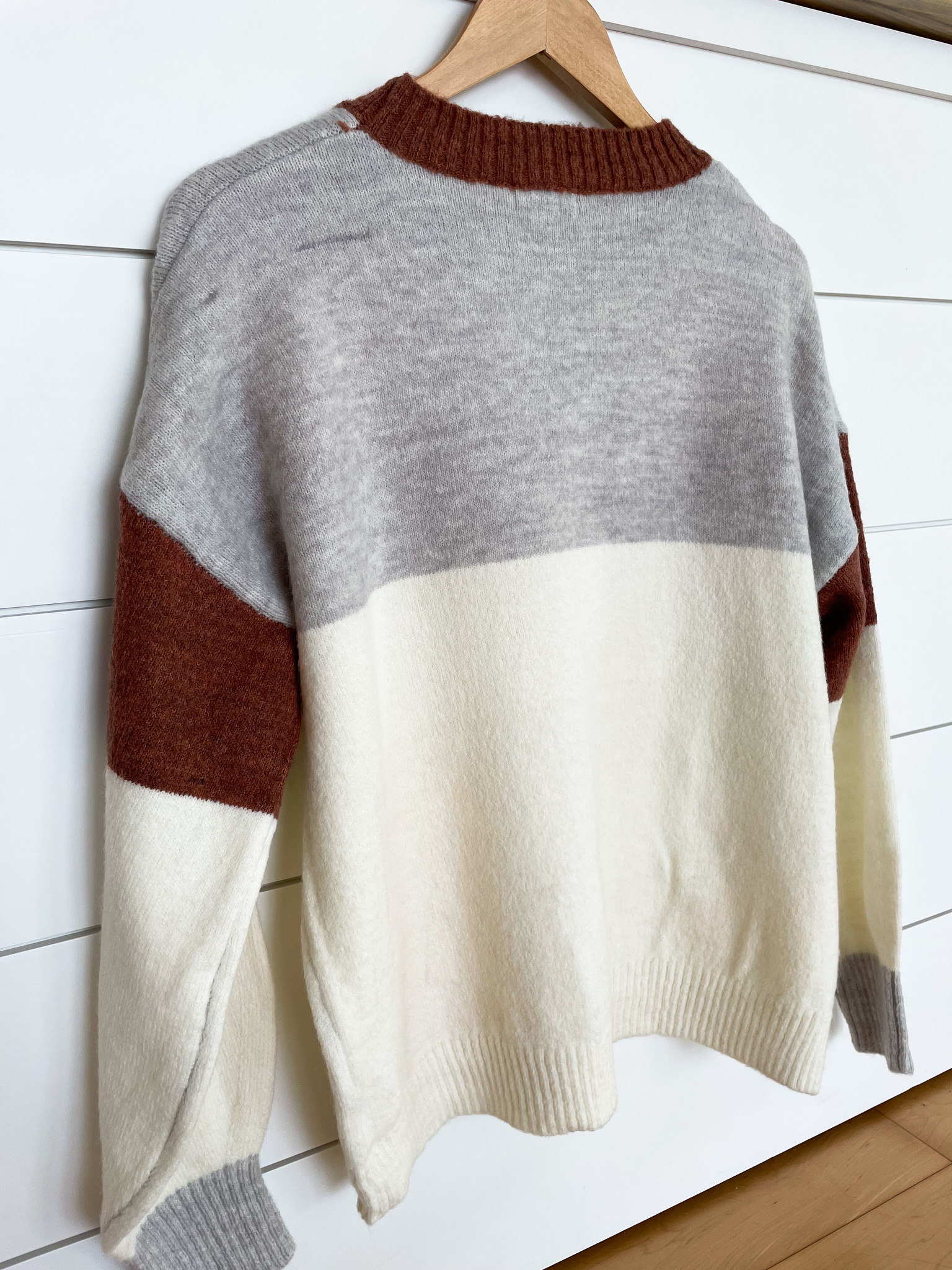 Ivory/Pink/Multi Colored Colorblock Sweater