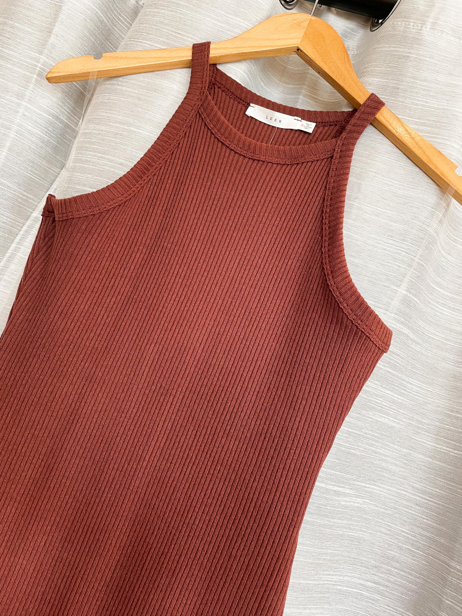 Brick Sleeveless Halter Midi Dress
