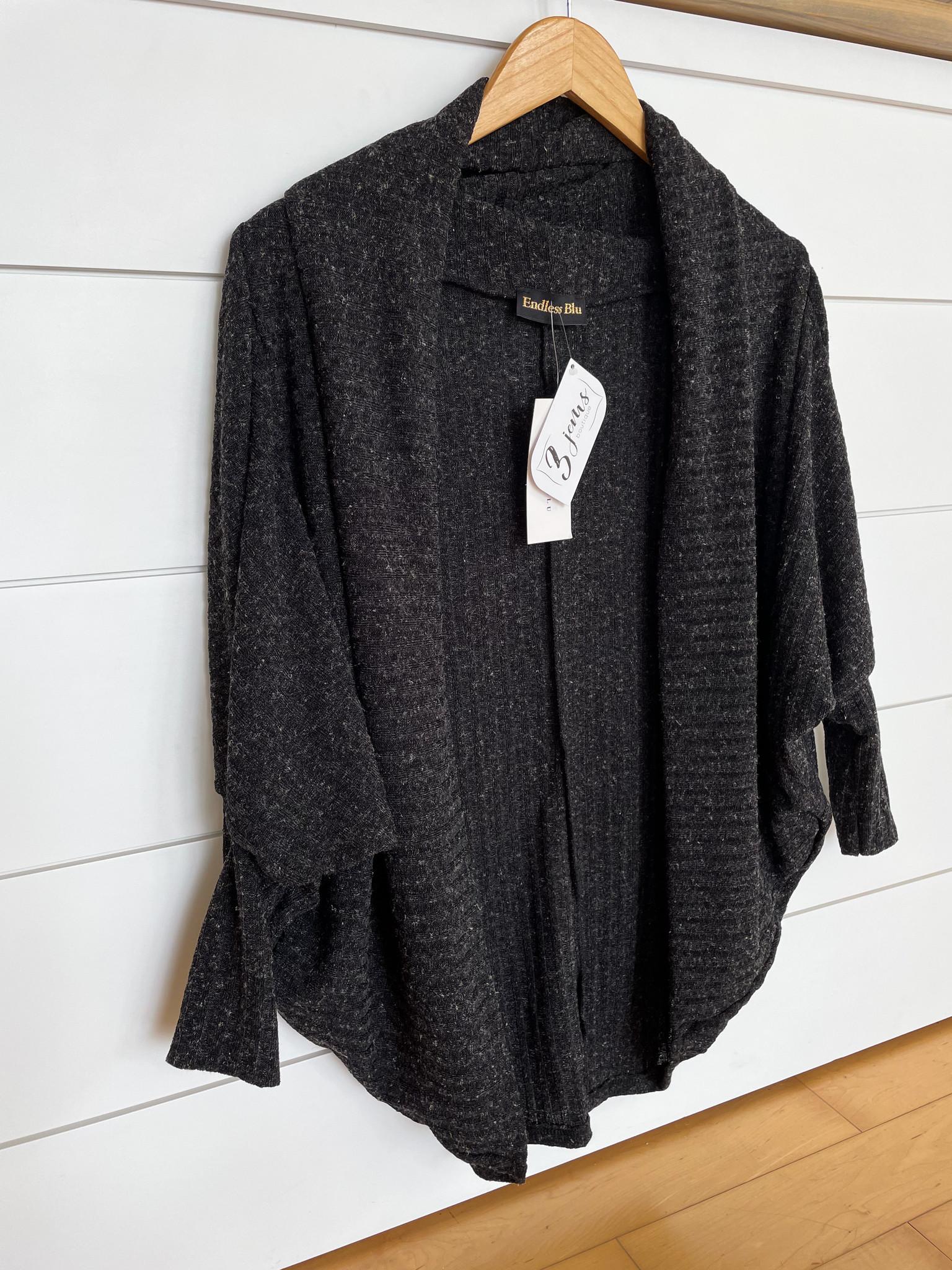 Black Ribbed Batwing Sleeve Cardigan