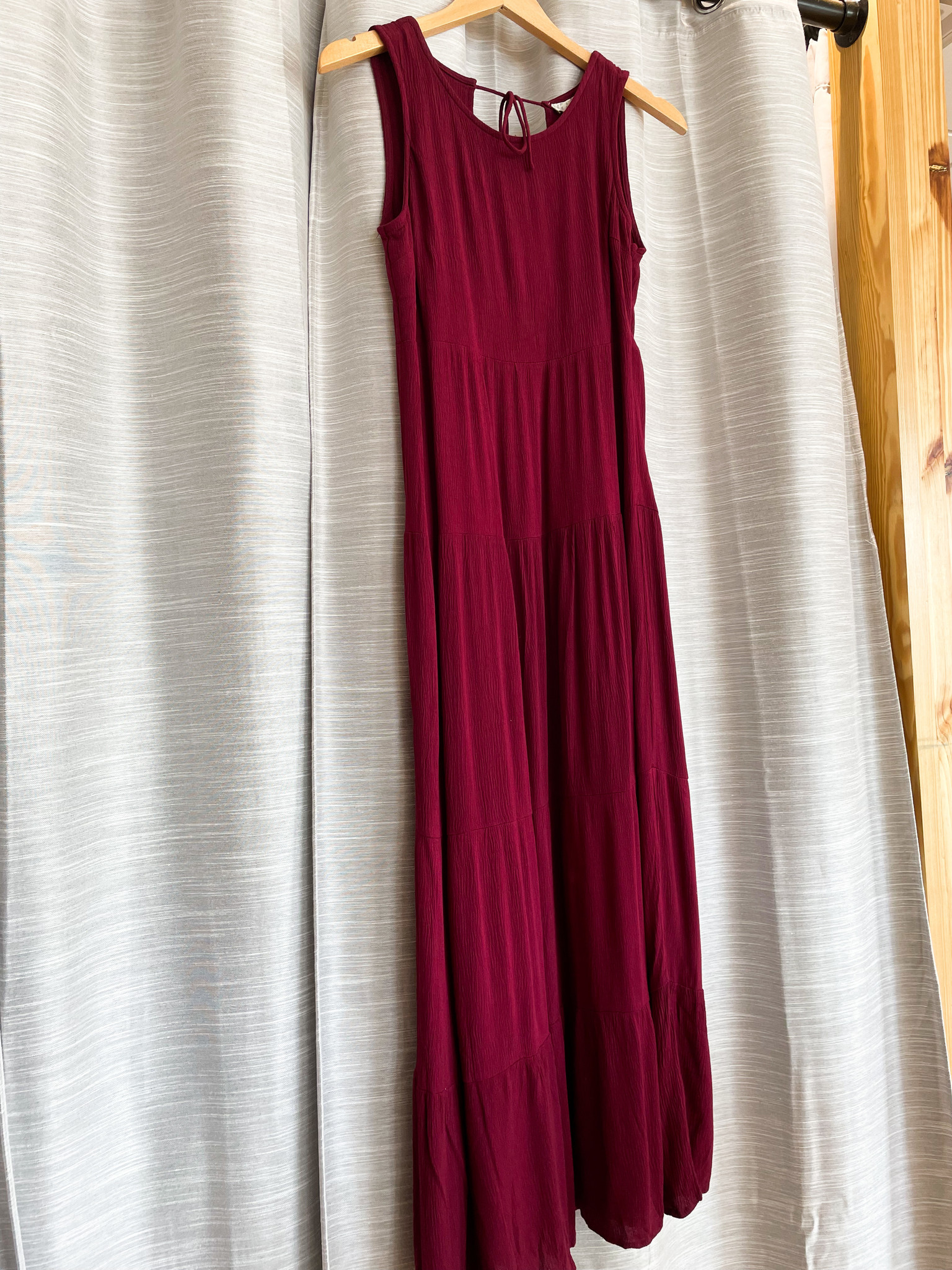 Wine Tiered Detailed Back Maxi Dress