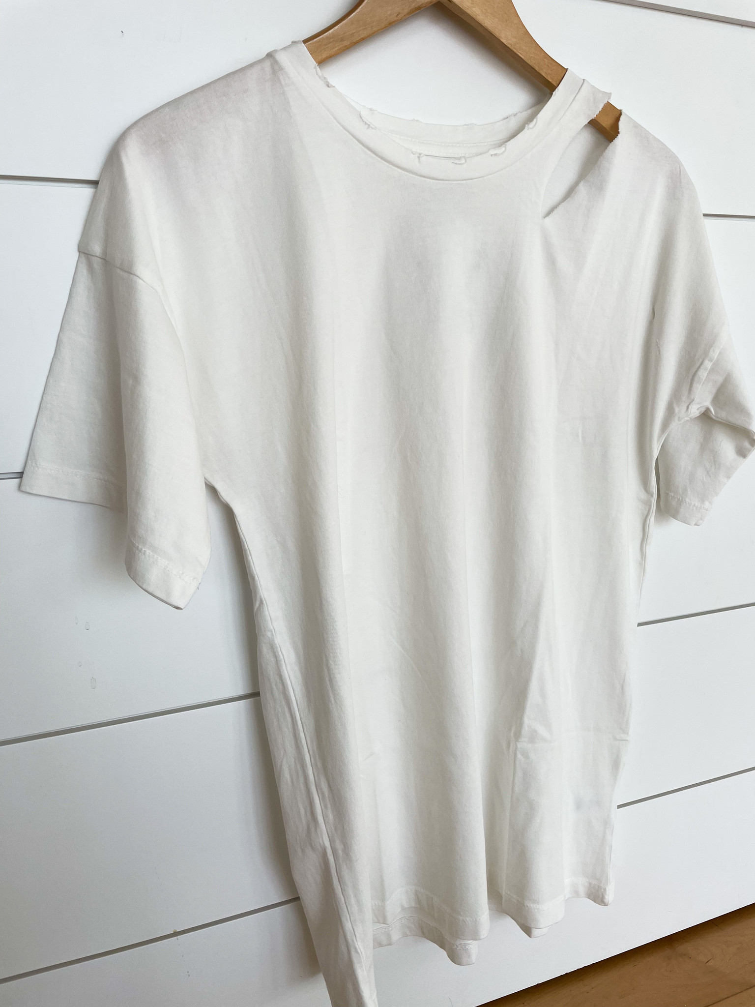 Ivory Solid Cut Out Distressed T-Shirt