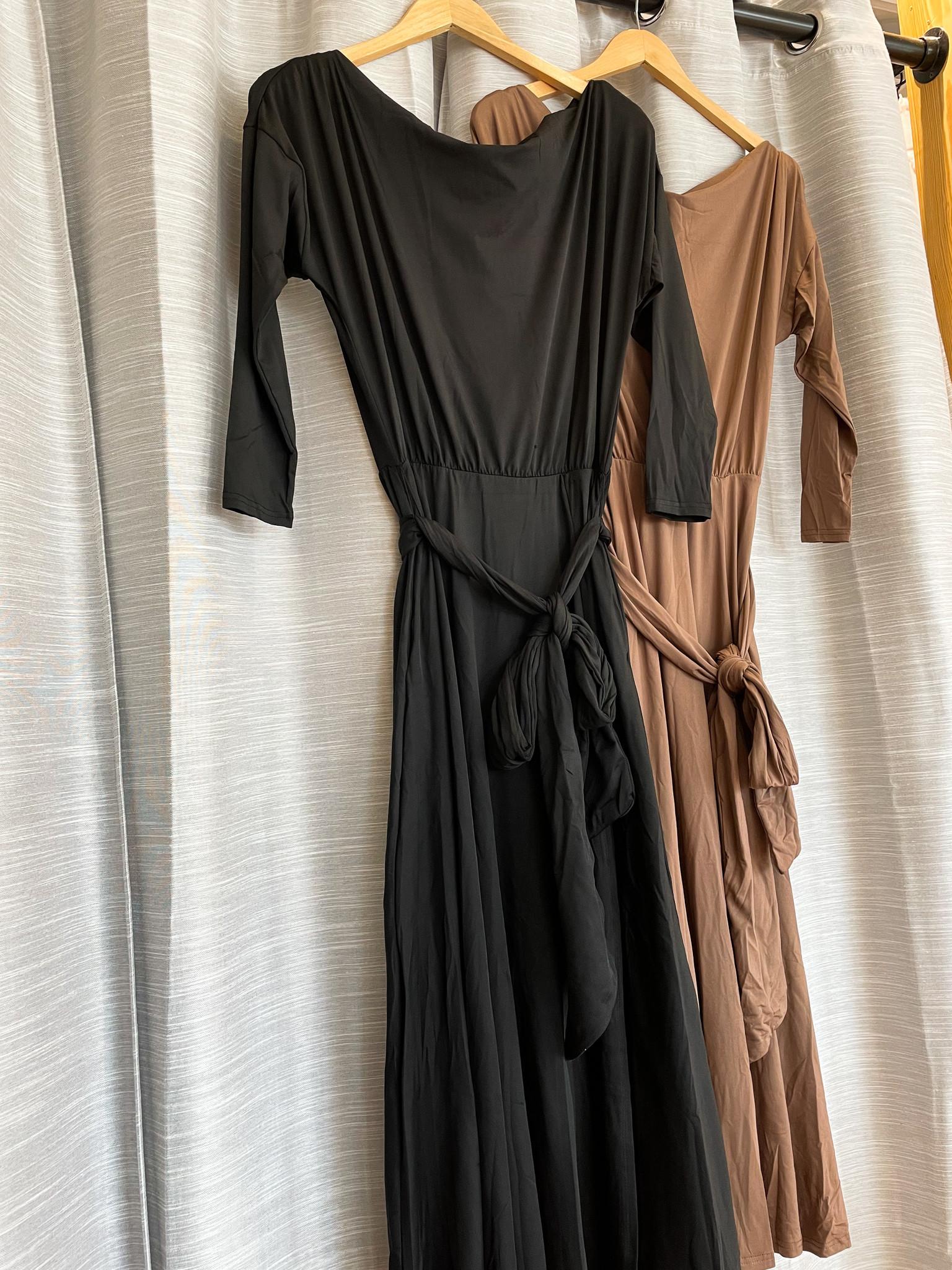 One Shoulder Stretch Dress w/ Tie Waist