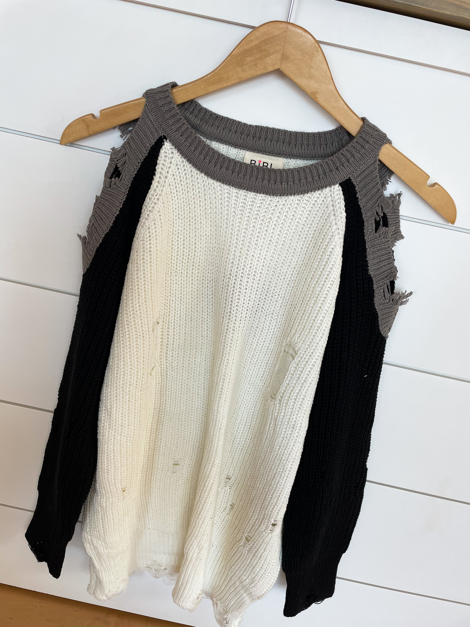Ivory / Black / Gray Cutout Shoulder Sweater