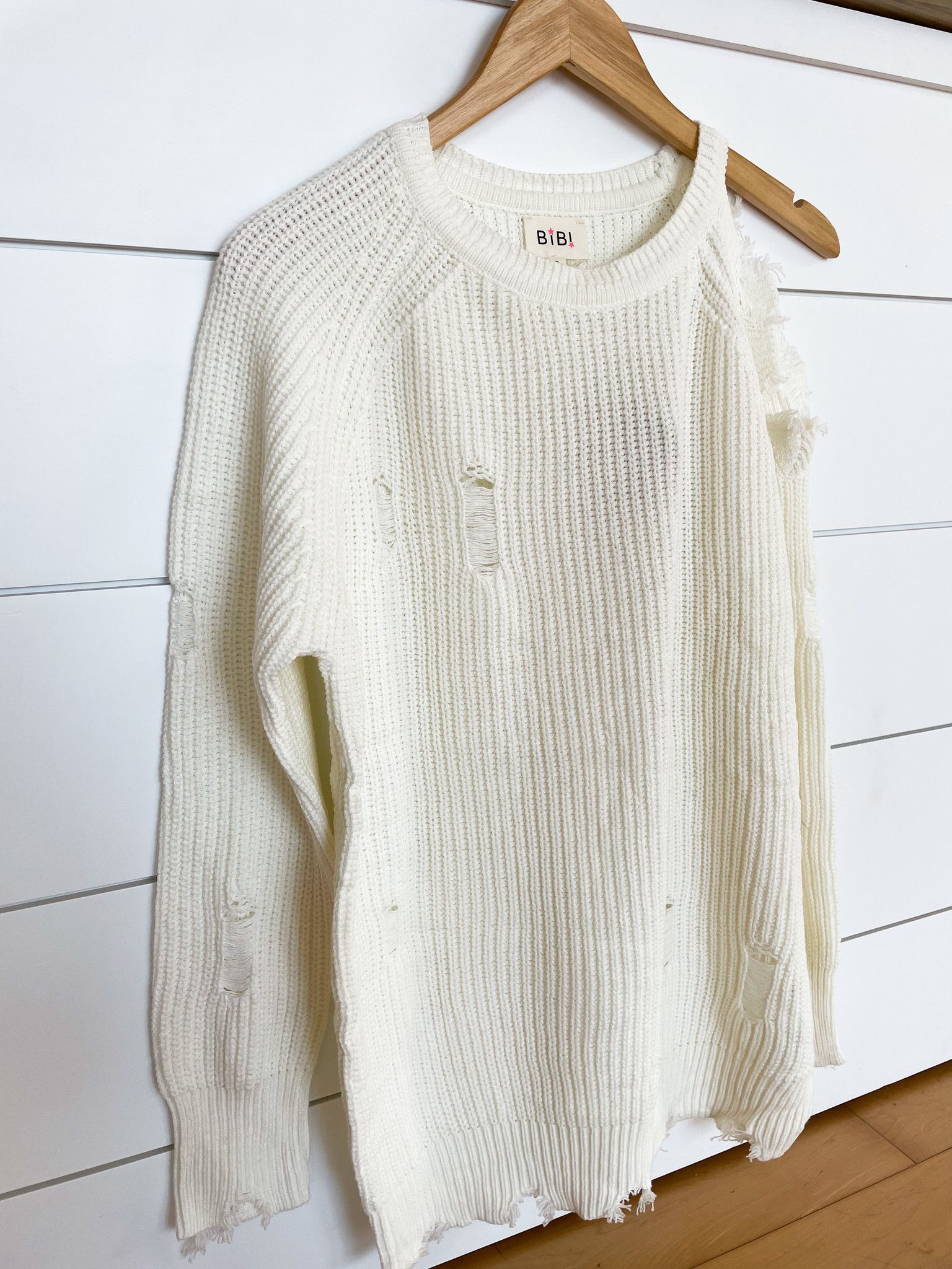 Ivory Cutout Shoulder Sweater