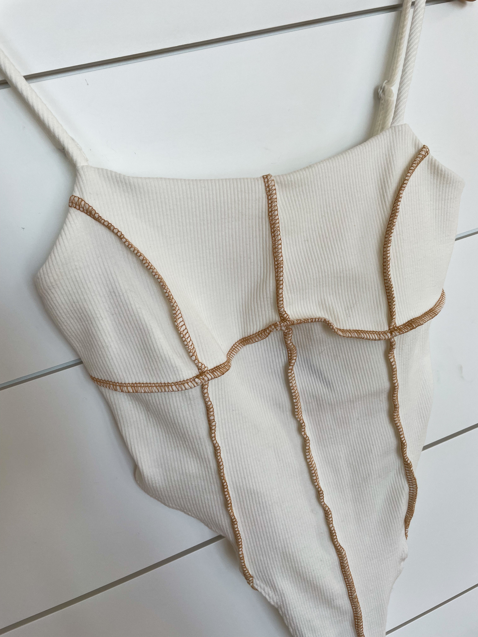 Off White Stitch Detail Bodysuit