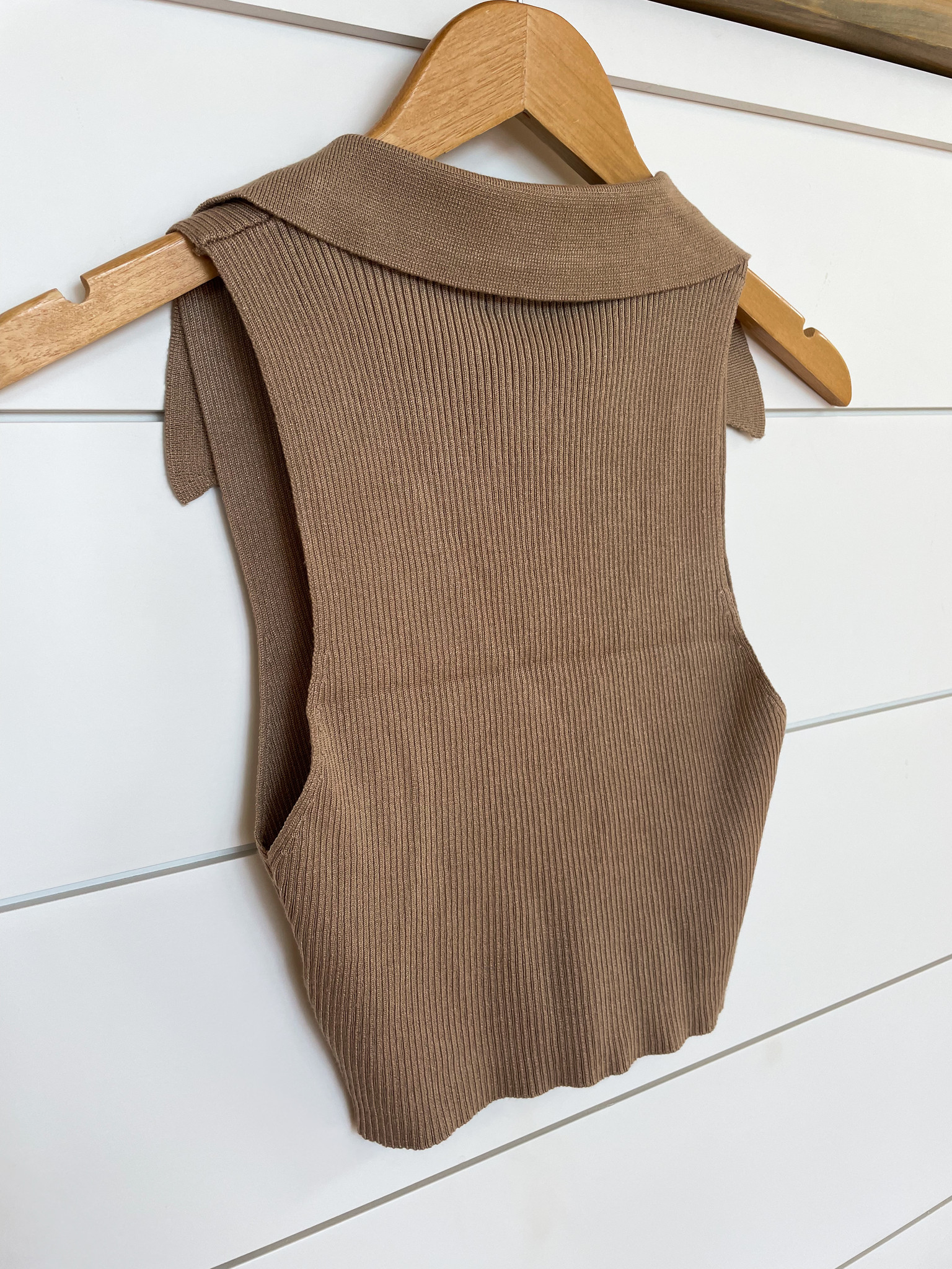 Taupe Ribbed Collared Crop Top