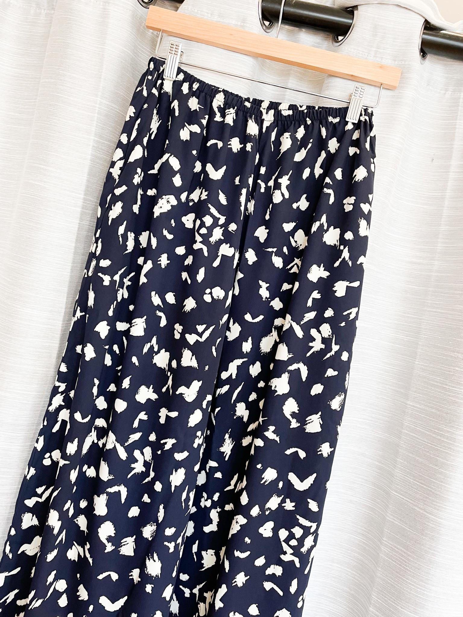Navy/Ivory Wide Leg High Rise Pants