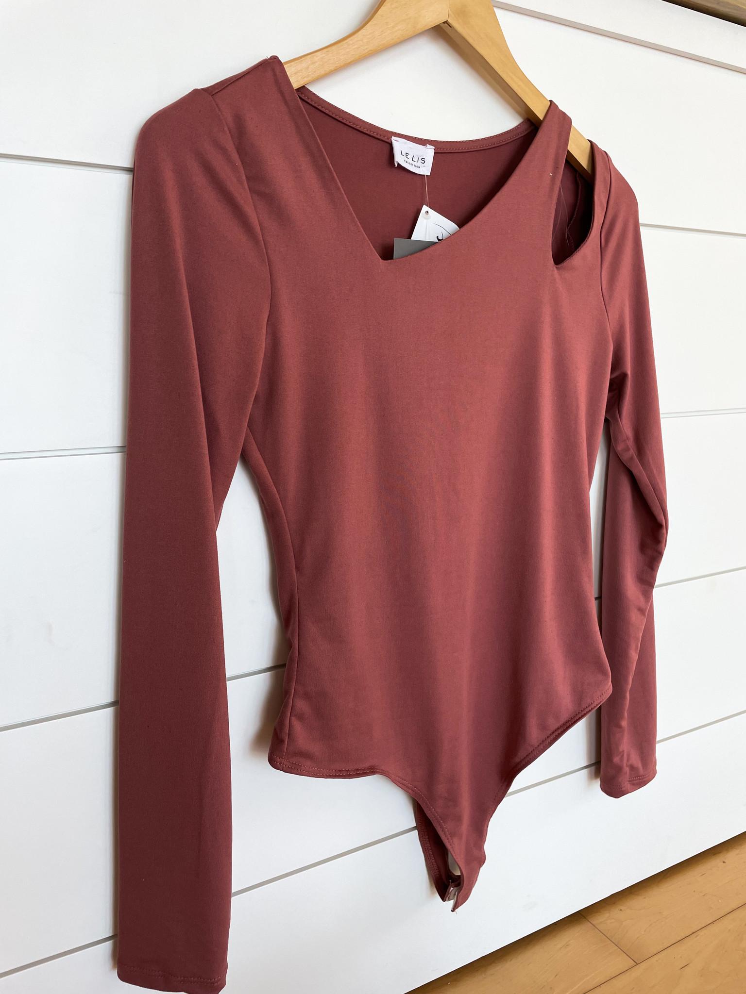 Dusty Rose Cut-Out Long Sleeve Bodysuit