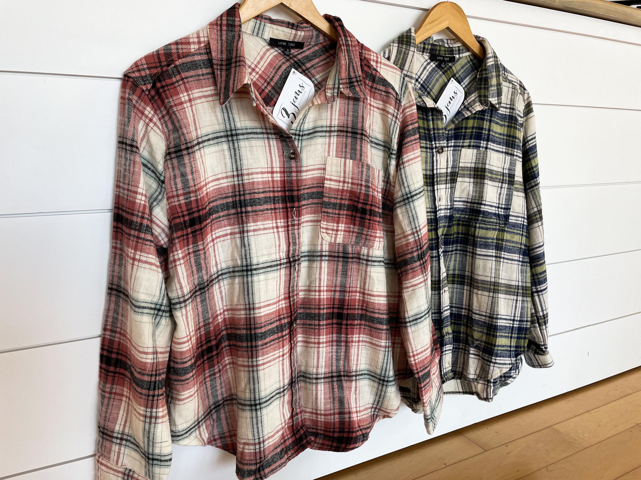 Plaid Flannel Button Down Shirt